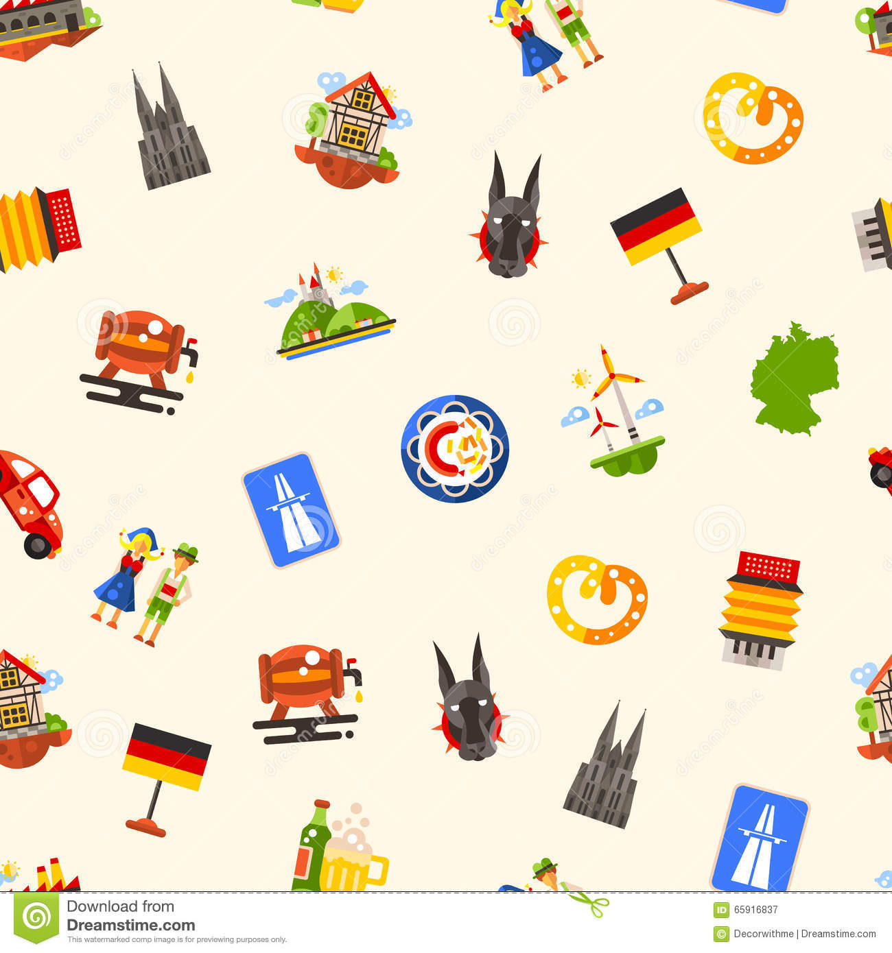 Germany Travel Seamless Pattern With Famous German Symbols Stock