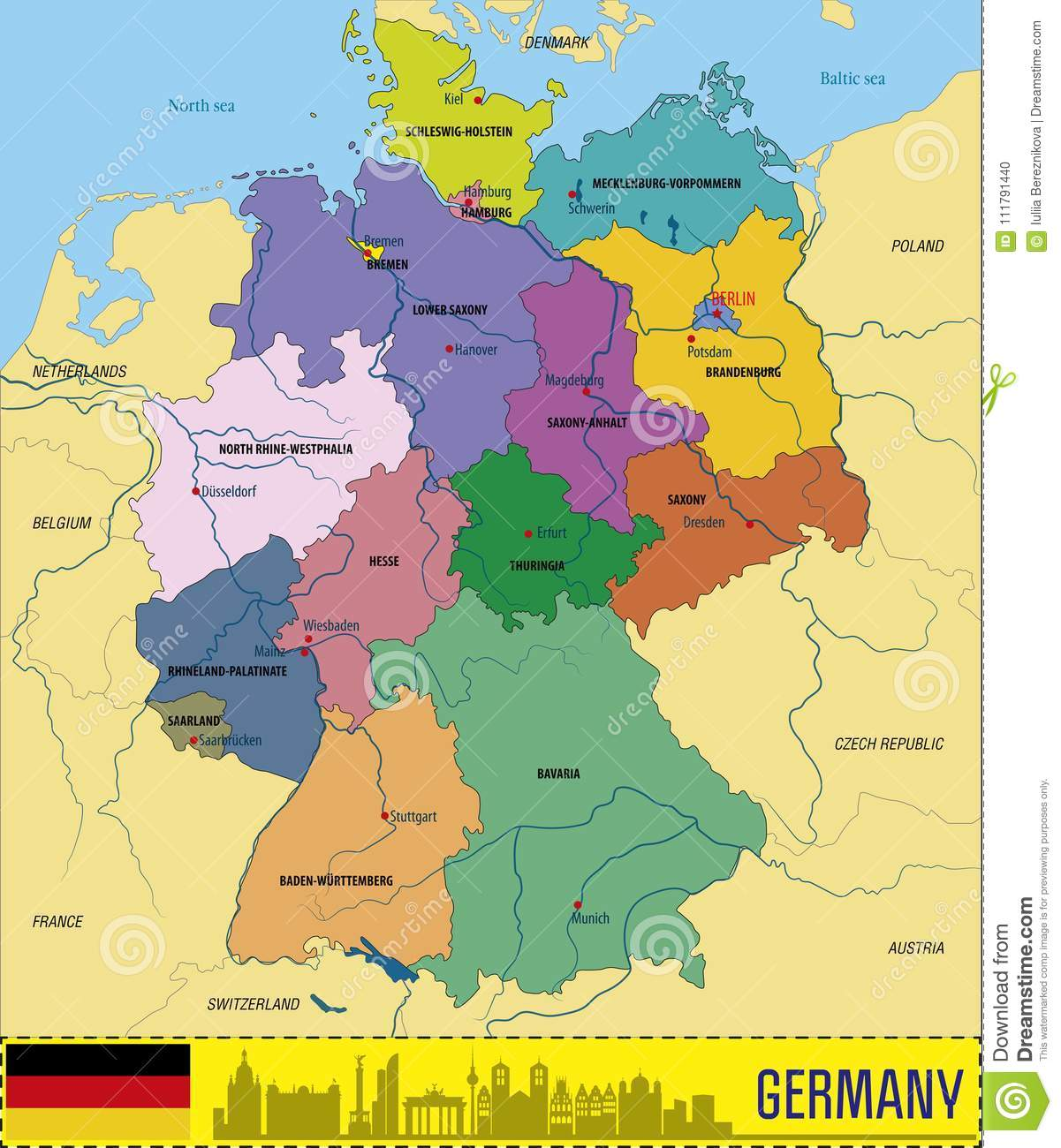 Map Of Germany With Regions.Germany Vector Map With Regions Stock Vector Illustration Of