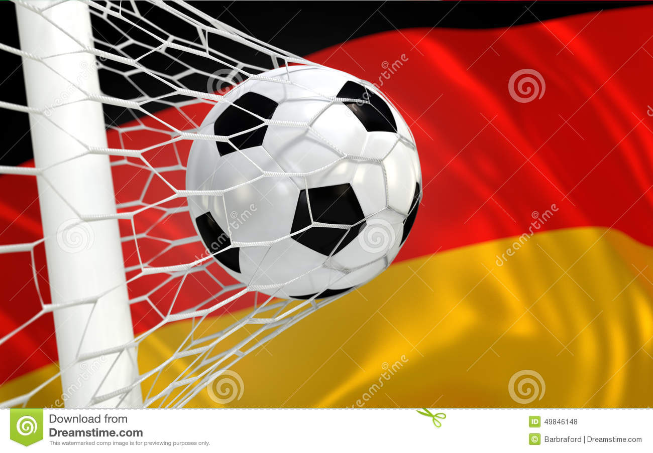 Germany waving flag and soccer ball in goal net