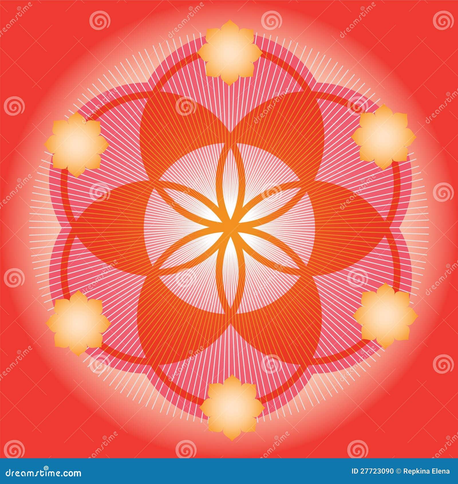 Germen rojo de una flor de la vida