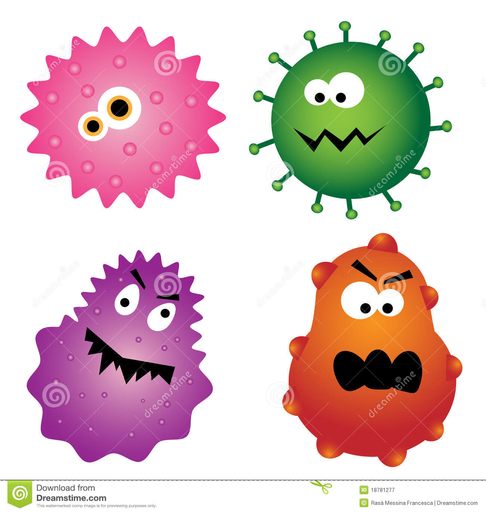 Germes de virus de dessin animé