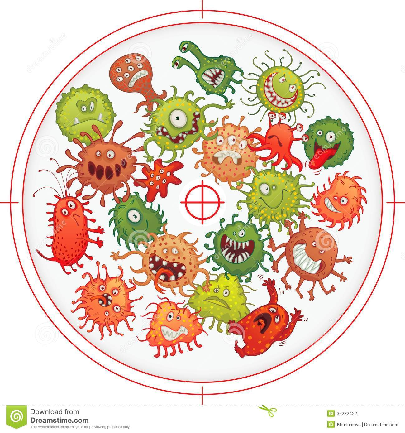 Germs and bacteria at gunpoint vector illustration isolated on white