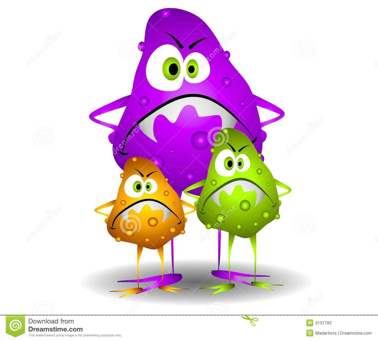 Art cartoon illustration of 3 nasty looking germs viruses or bacteria