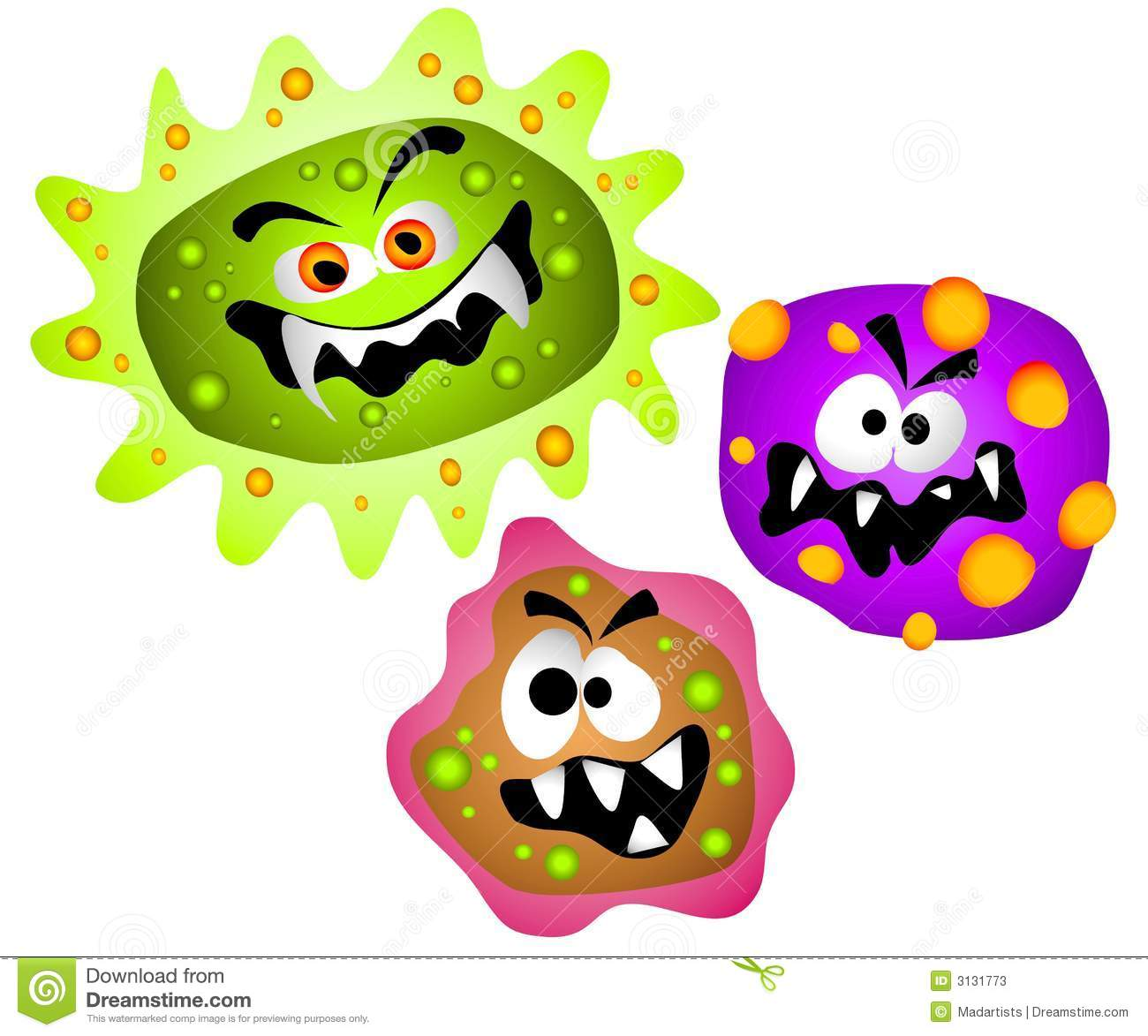 Art cartoon illustration of nasty looking germs viruses or bacteria