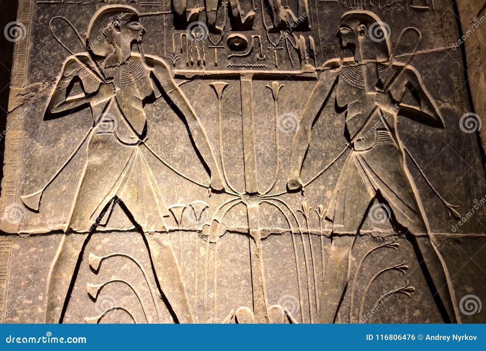 Geroglifici e disegni egiziani sulle pareti e sulle colonne Lingua egiziana, la vita dei antichi e la gente dentro