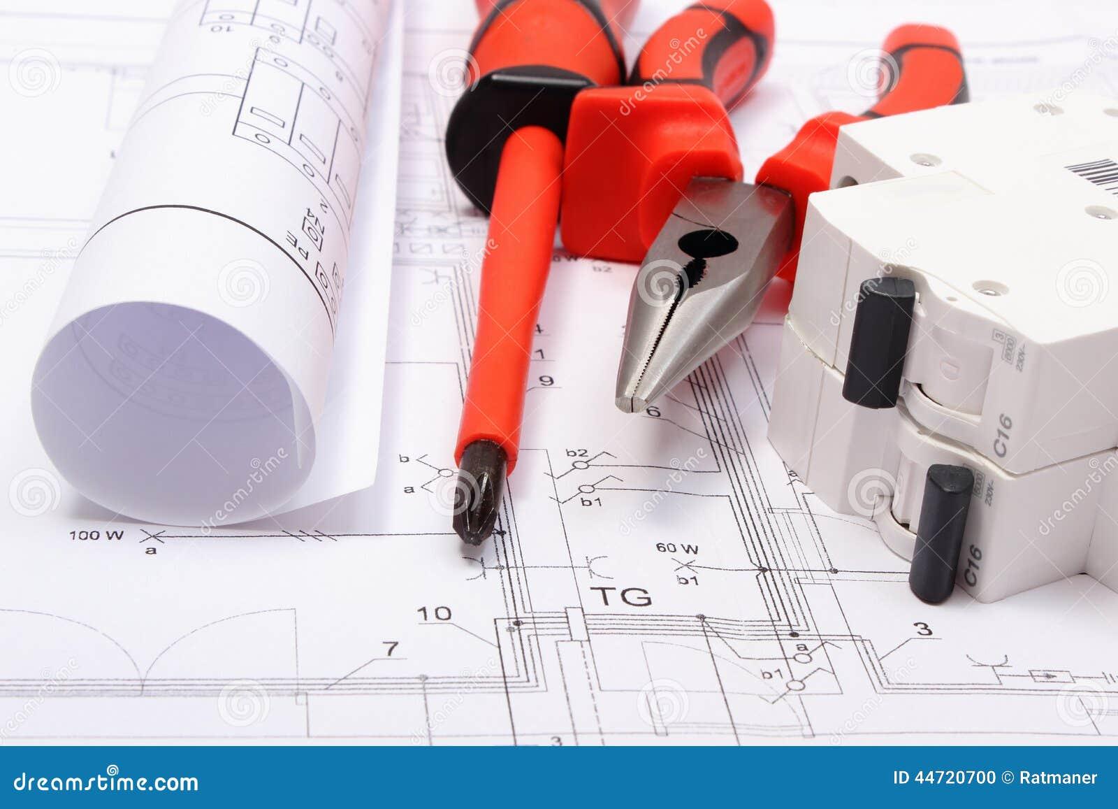 gerolde elektrodiagrammen elektrische zekering en het werkhulpmiddelen op bouwtekening van huis. Black Bedroom Furniture Sets. Home Design Ideas