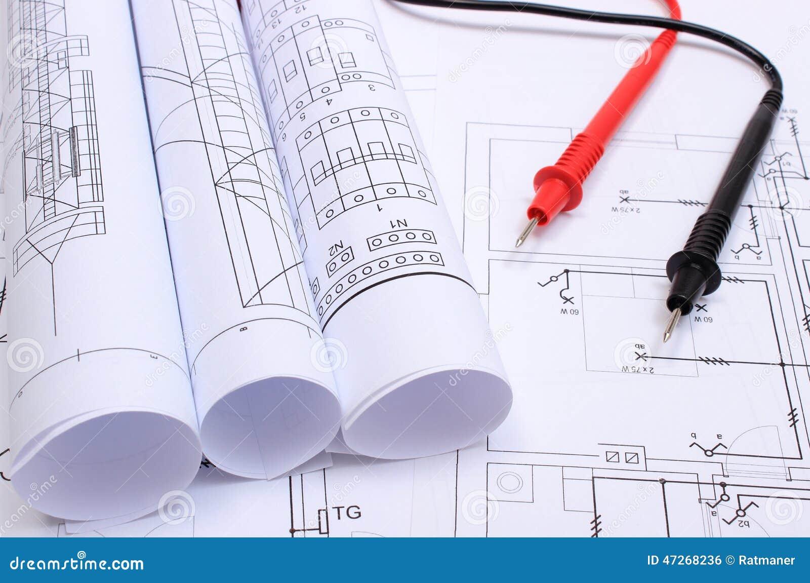Gerollte Elektrische Diagramme Und Kabel Des Vielfachmessgeräts Auf ...