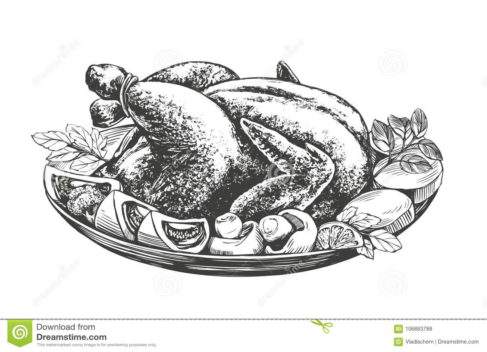Geroosterd Turkije, kip, met ingrediëntenhand getrokken vector