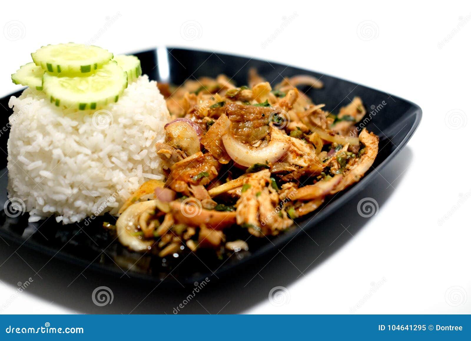 Download Geroosterde kip met rijst stock afbeelding. Afbeelding bestaande uit achtergrond - 104641295