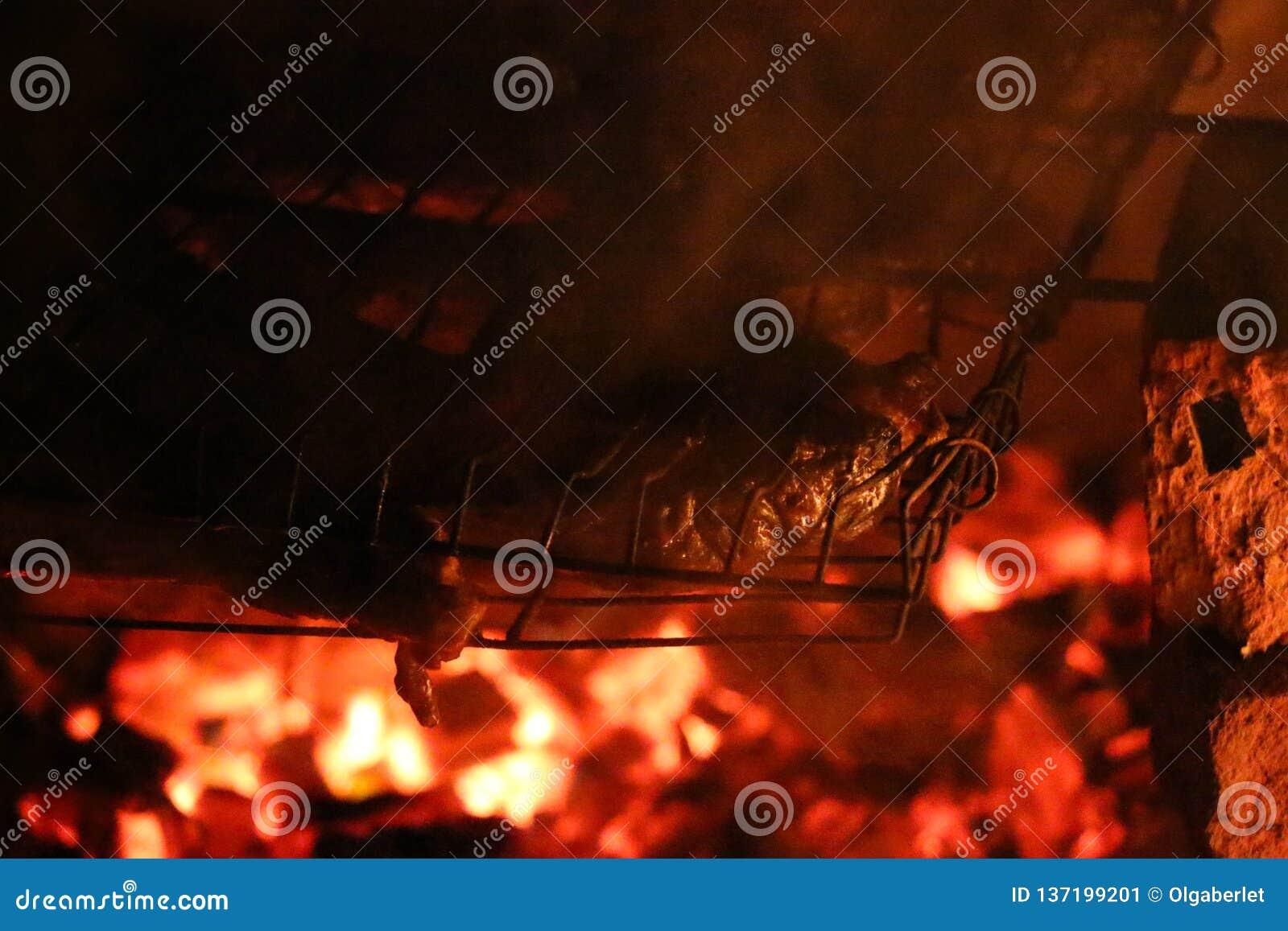 Geroosterde zalmlapjes vlees op een grill De grill van de brandvlam Restaurant en tuinkeuken