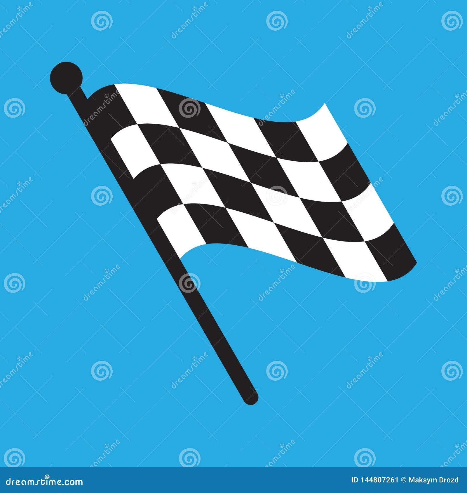Geruite die het Rennen vlag op blauw wordt ge?soleerd
