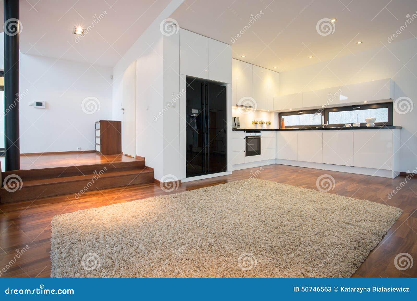 geräumiges wohnzimmer mit offener küche stockfoto - bild: 50746563