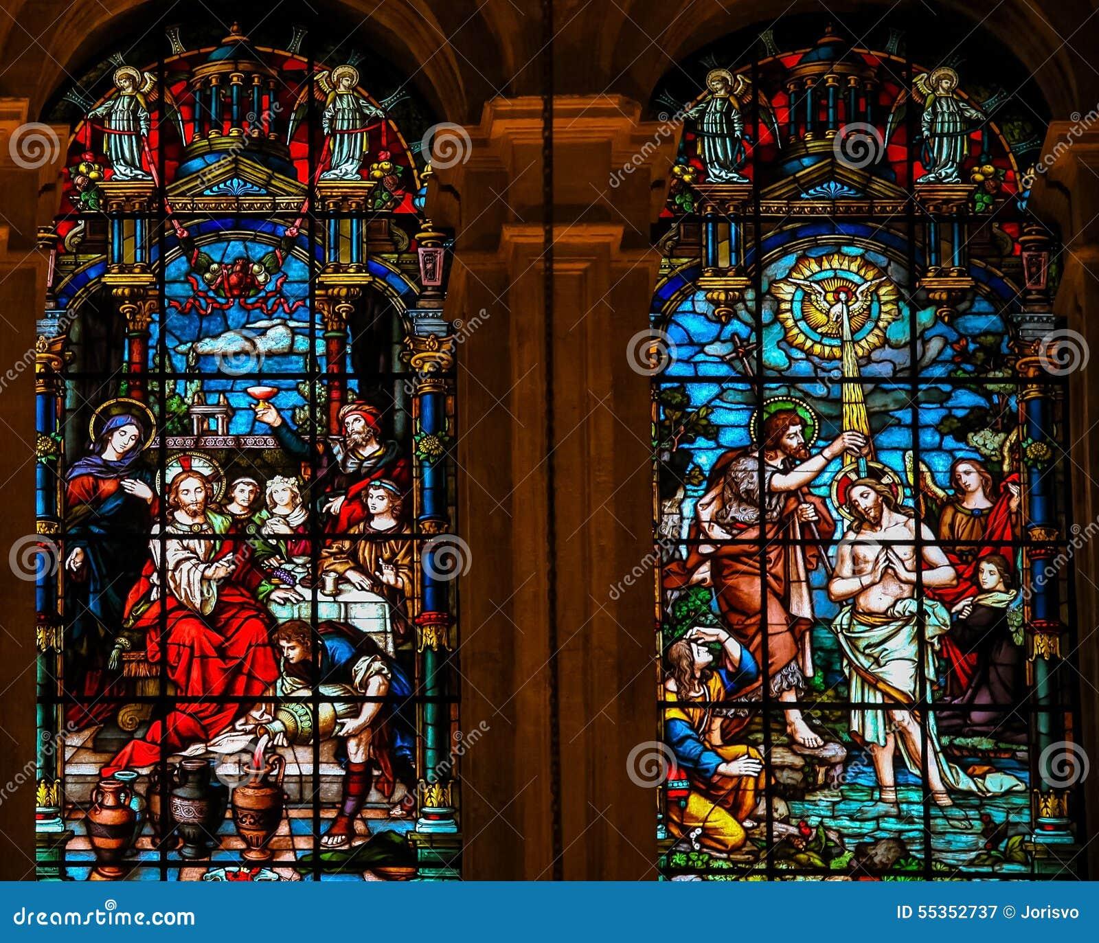 Gesù al matrimonio a Cana ed al battesimo da St John