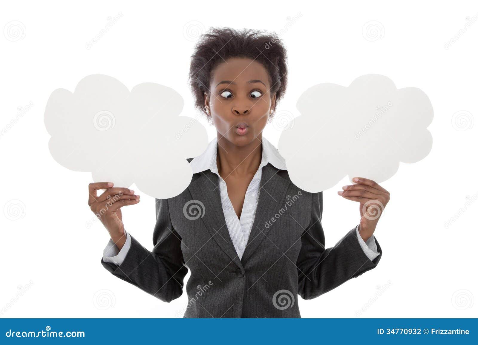 Geschäft; Afrikanerin gekreuzt gemustert, Wolkenzeichenisolat halten
