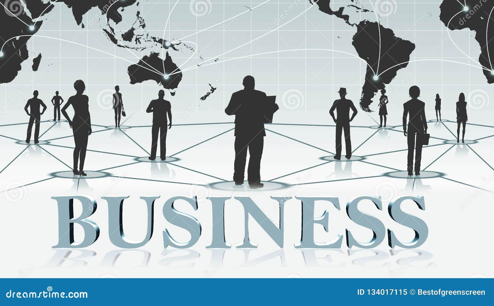 GESCHÄFT - Buchstaben 3D vor Hintergrund Geschäft oder Internet-Konzept des globalen Netzwerks