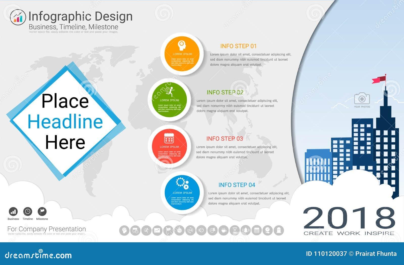 Geschäft infographics Schablone, Meilensteinzeitachse oder Straßenkarte mit Wahlen des Prozessflussdiagramms 4