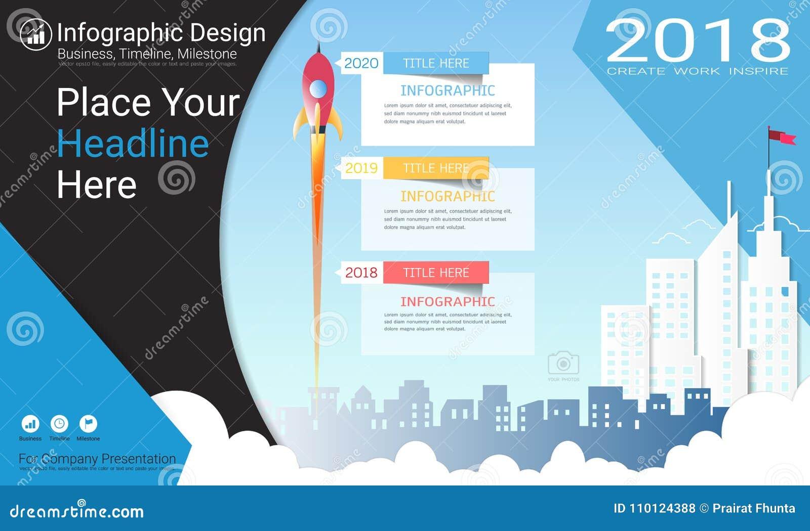 Geschäft infographics Schablone, Meilensteinzeitachse oder Straßenkarte mit Wahlen des Prozessflussdiagramms 3