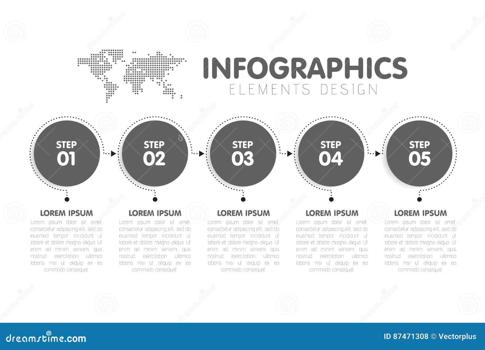 Geschäft Infographics Schablone Zeitachse Mit 5 Kreispfeilschritten ...