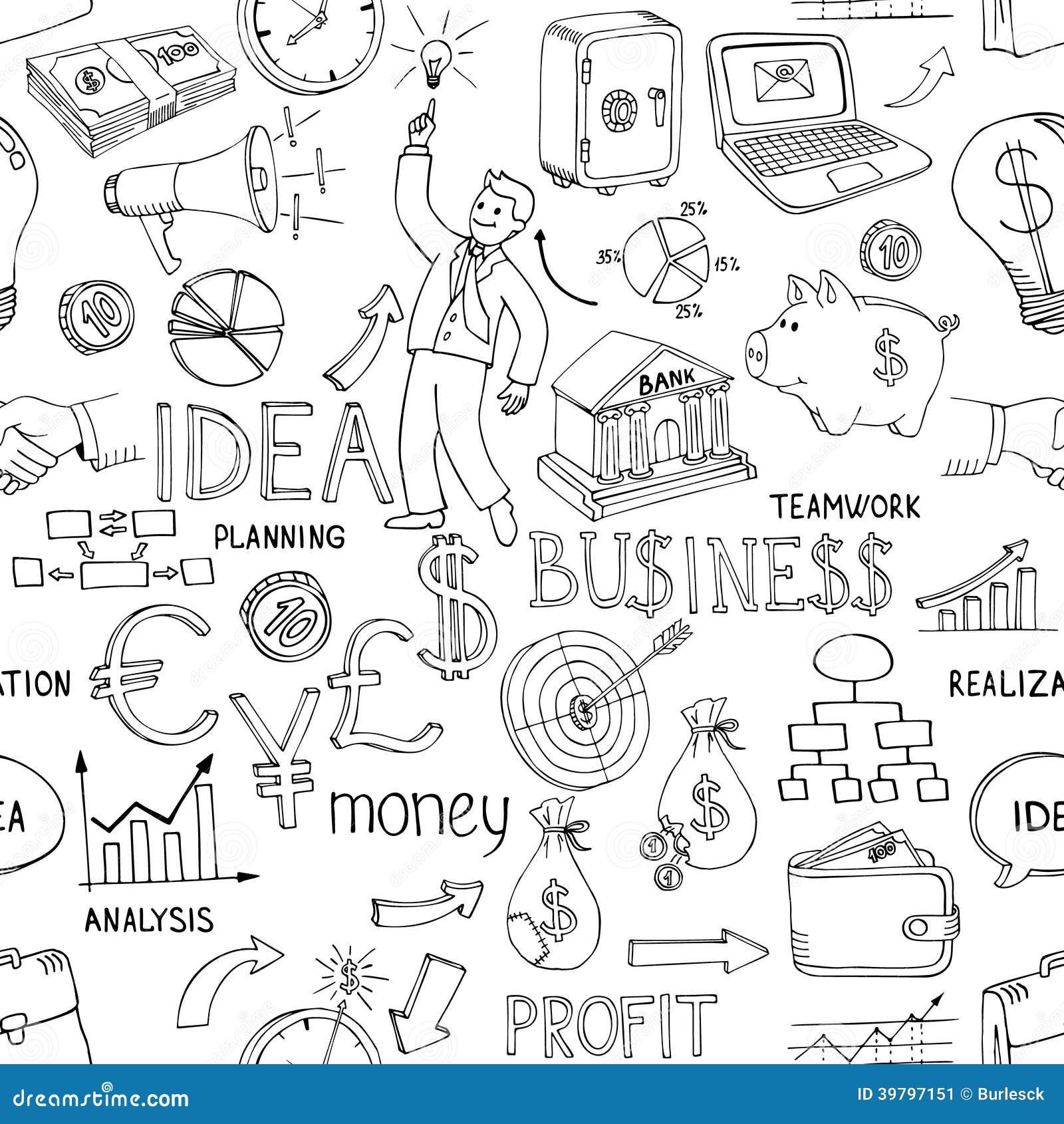 Geschäft kritzelt nahtloses Muster