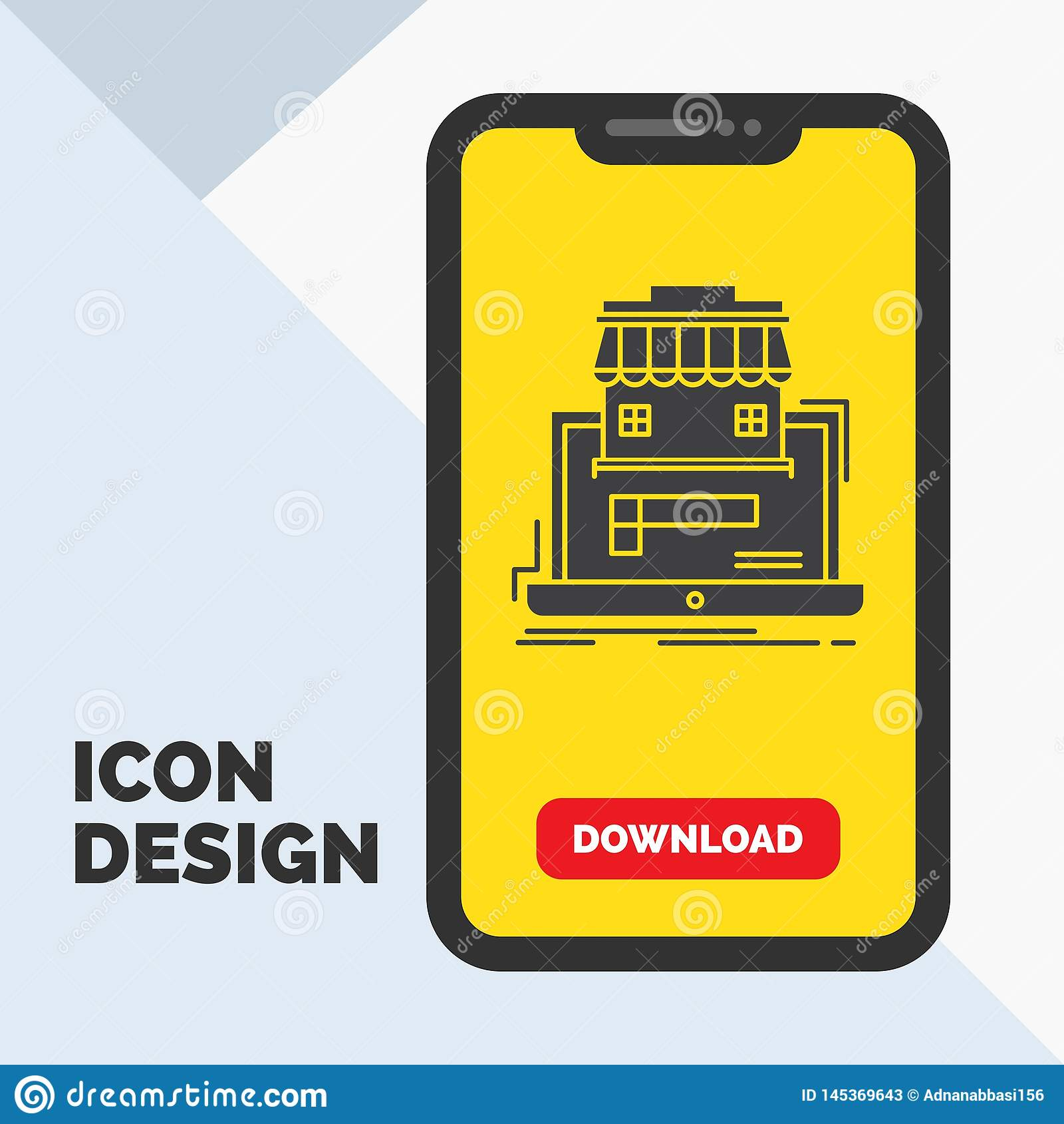 Geschäft, Markt, Organisation, Daten, on-line-Markt Glyph-Ikone im Mobile für Download-Seite Gelber Hintergrund