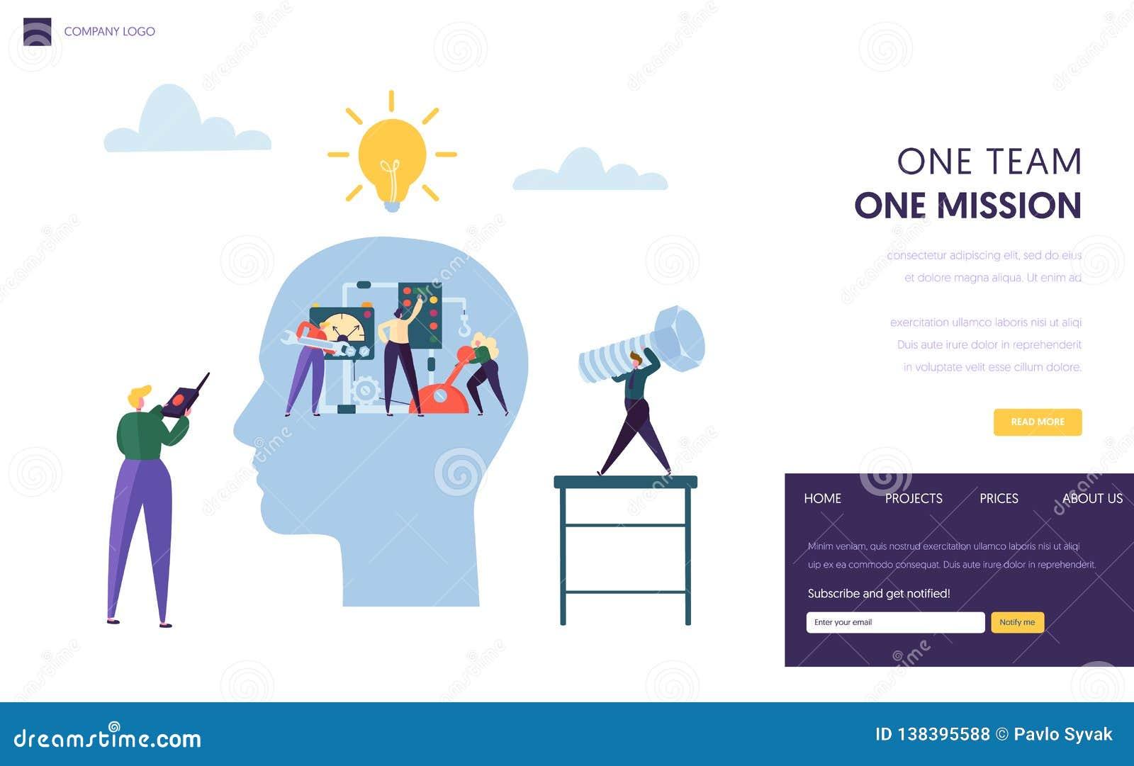 Geschäft Team Work Together als Mechanismus-Landungs-Seite Geschäftsmann-Führer Manager Challenge zum Erfolgs-Personen-Fähigkeits
