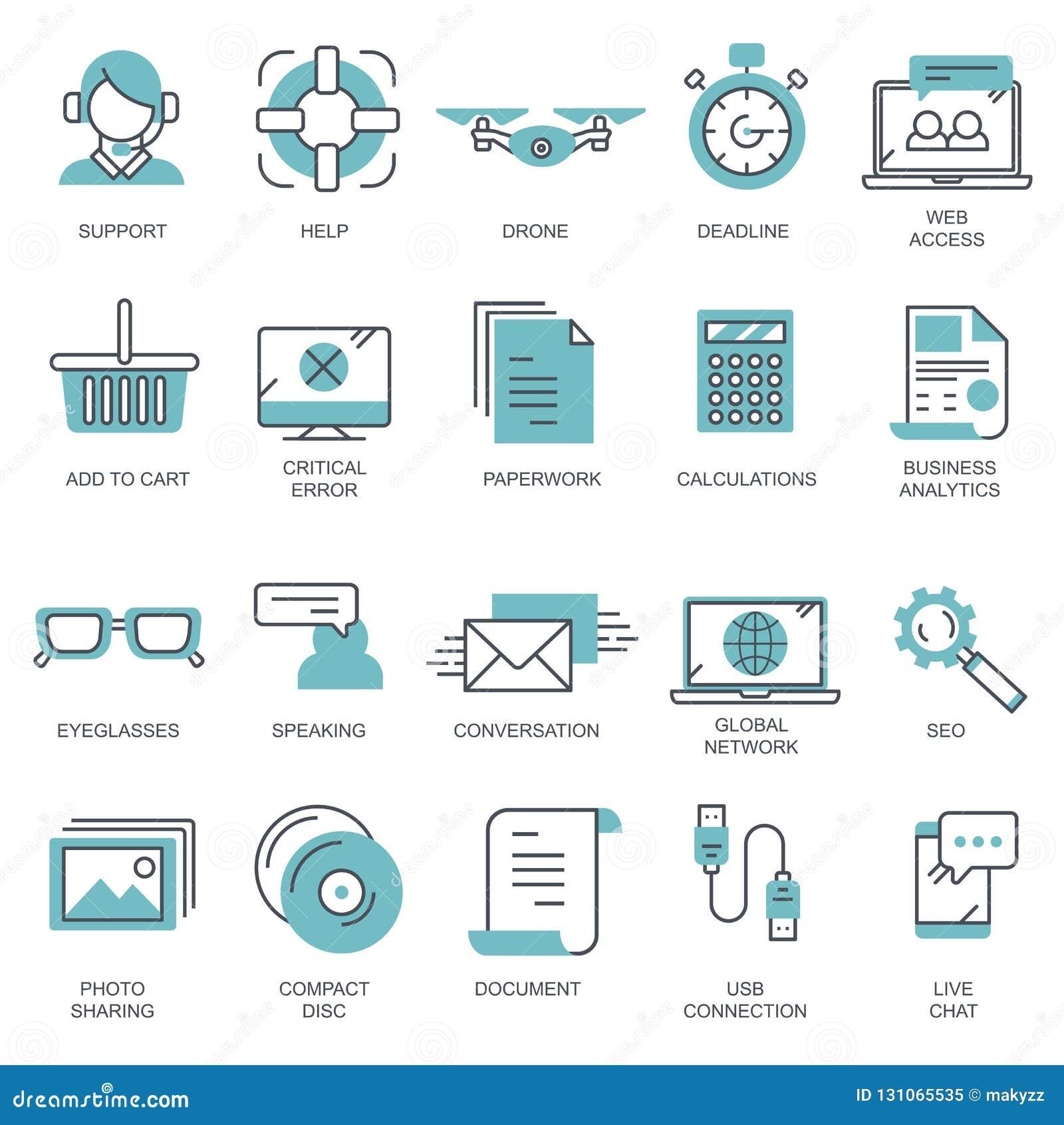 Geschäft und Marketing, programmierend, Datenverwaltung, Internetanschluss, Soziales Netz und rechnen, Informationen