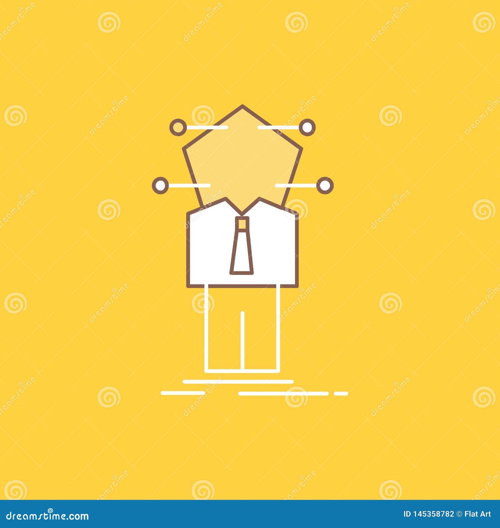 Geschäft, Verbindung, Mensch, Netz, Lösung flache Linie füllte Ikone Sch?ner Logoknopf ?ber gelbem Hintergrund f?r UI und UX,
