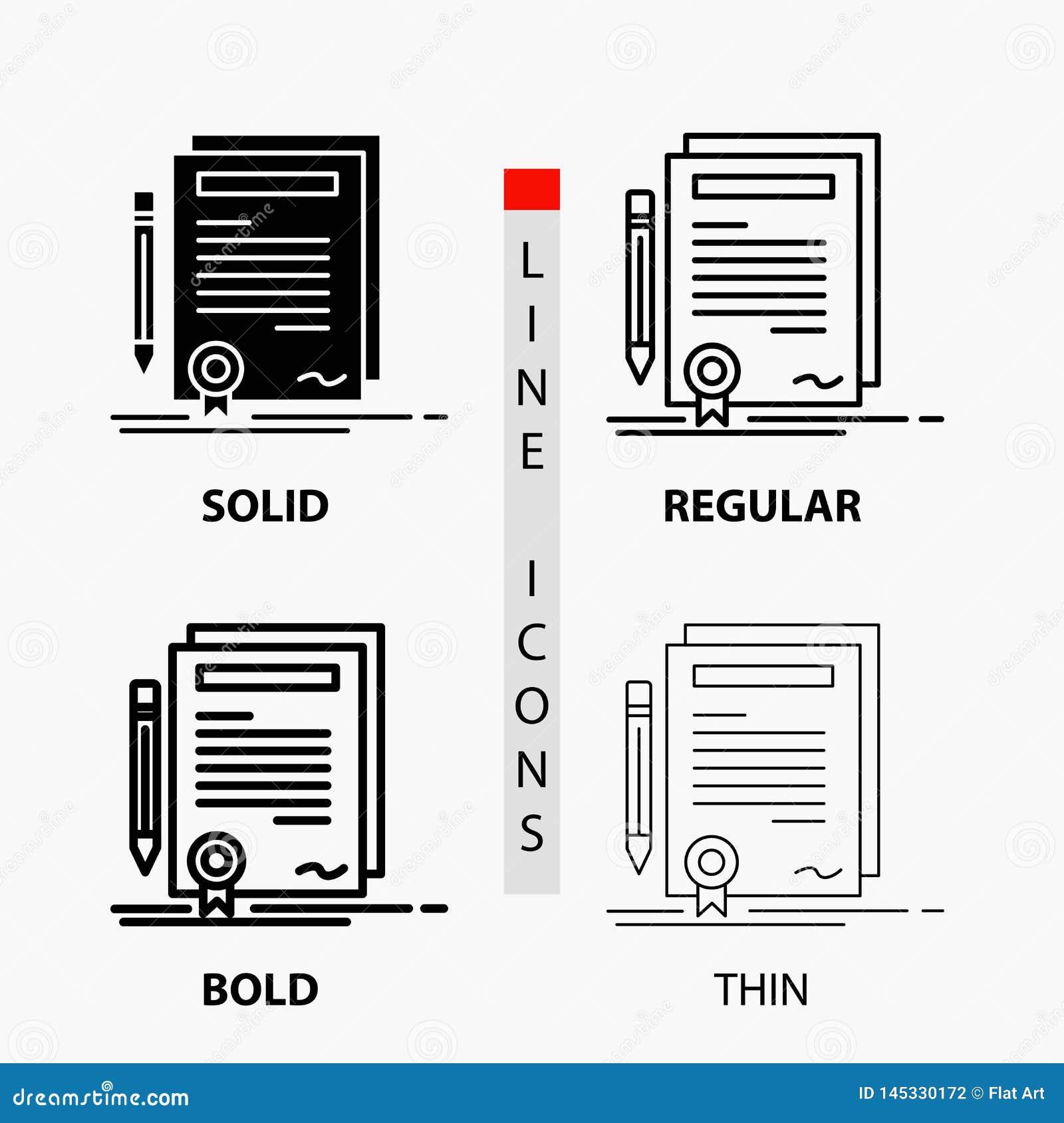 Geschäft, Zertifikat, Vertrag, Grad, Dokument Ikone in der dünnen, regelmäßigen, mutigen Linie und in der Glyph-Art Auch im corel