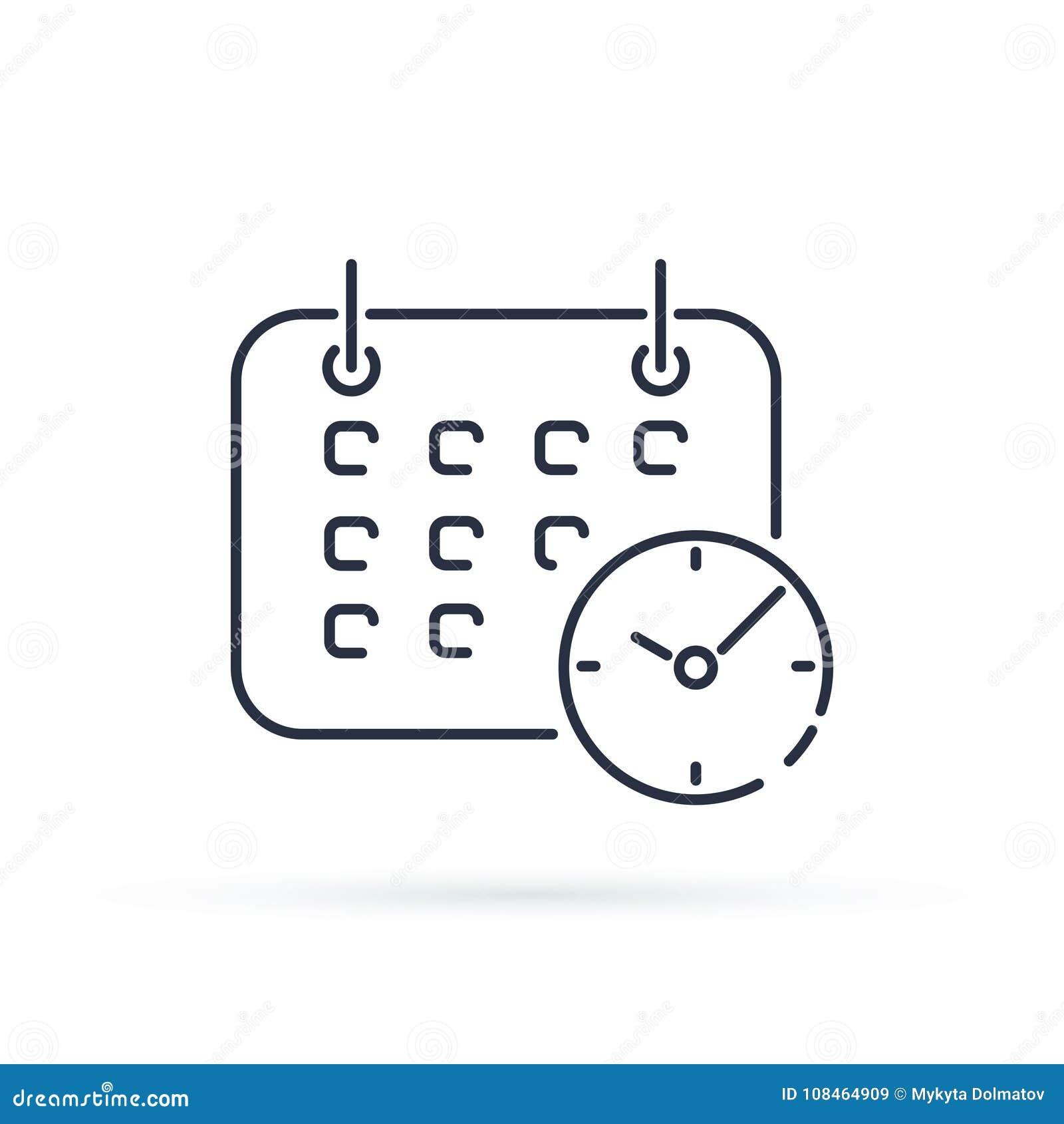Geschäfts-Kalender mit Uhrikone Modische Linie Artsymbol Shedule lokalisiert auf Hintergrund