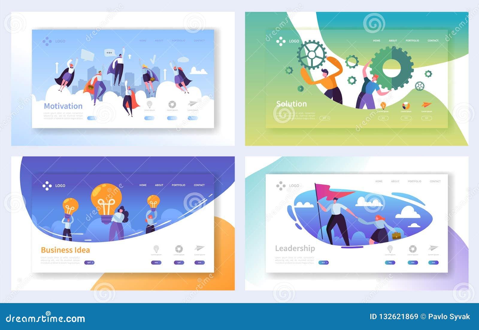 Geschäfts-Landungs-Seiten-Schablonen-Satz Geschäftsleute der Charakter-Team Working, Lösung, Führung, kreatives Ideen-Konzept