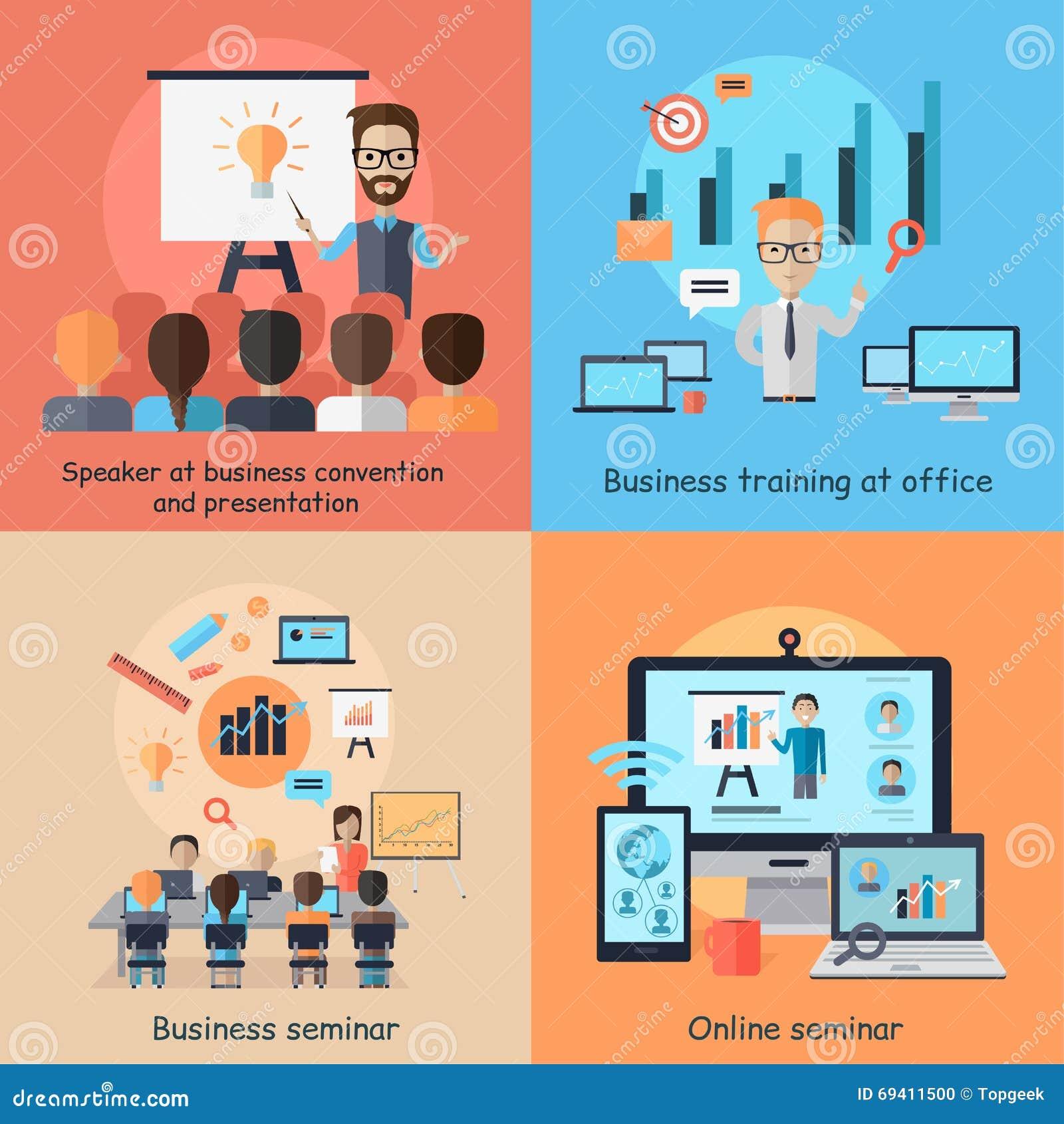 Geschäfts-on-line-Seminar-Fahnen-Konzept