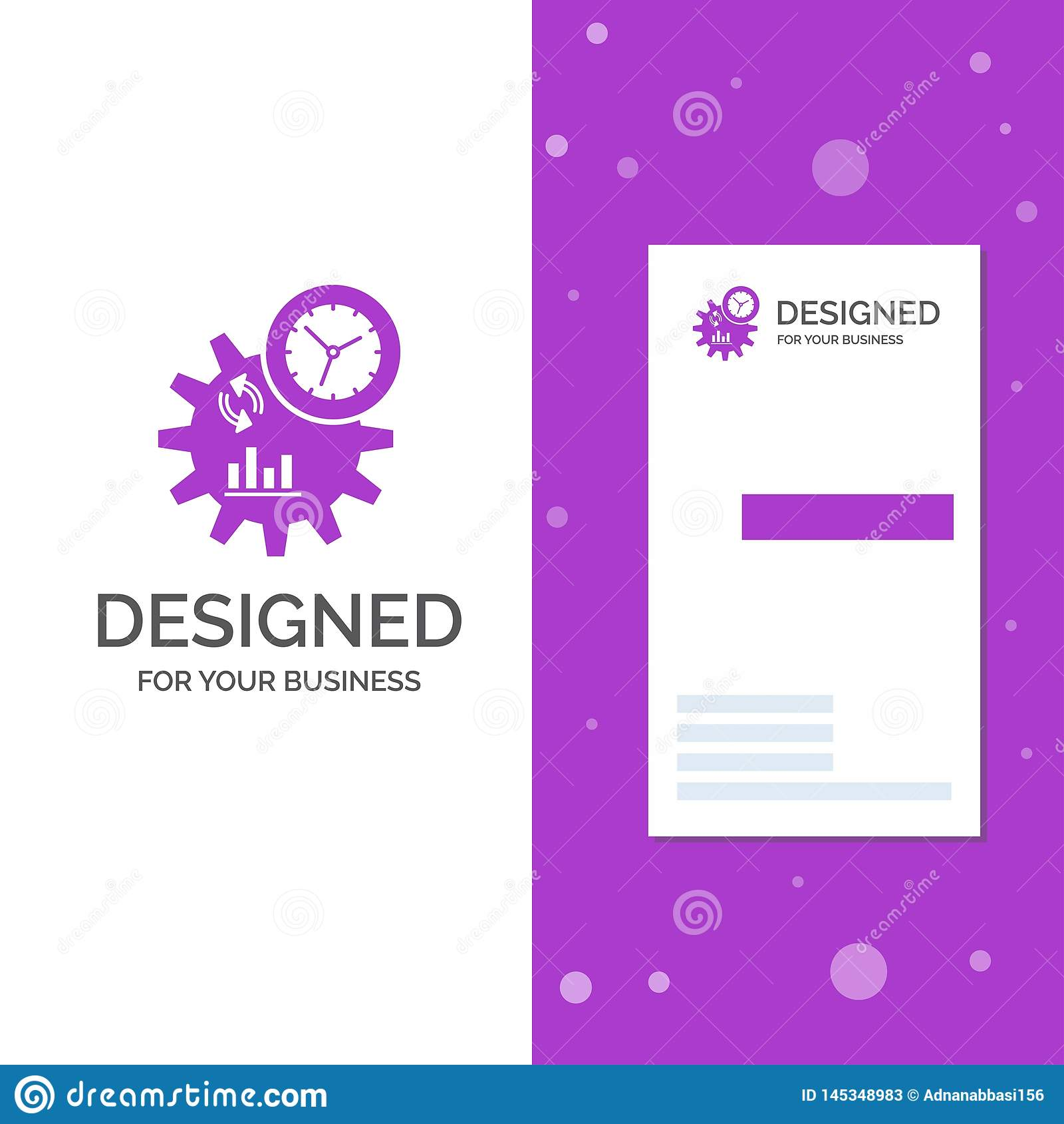 Geschäfts-Logo für Geschäft, Technik, Management, Prozess Vertikale purpurrote Gesch?fts-/Visitenkarteschablone kreativ