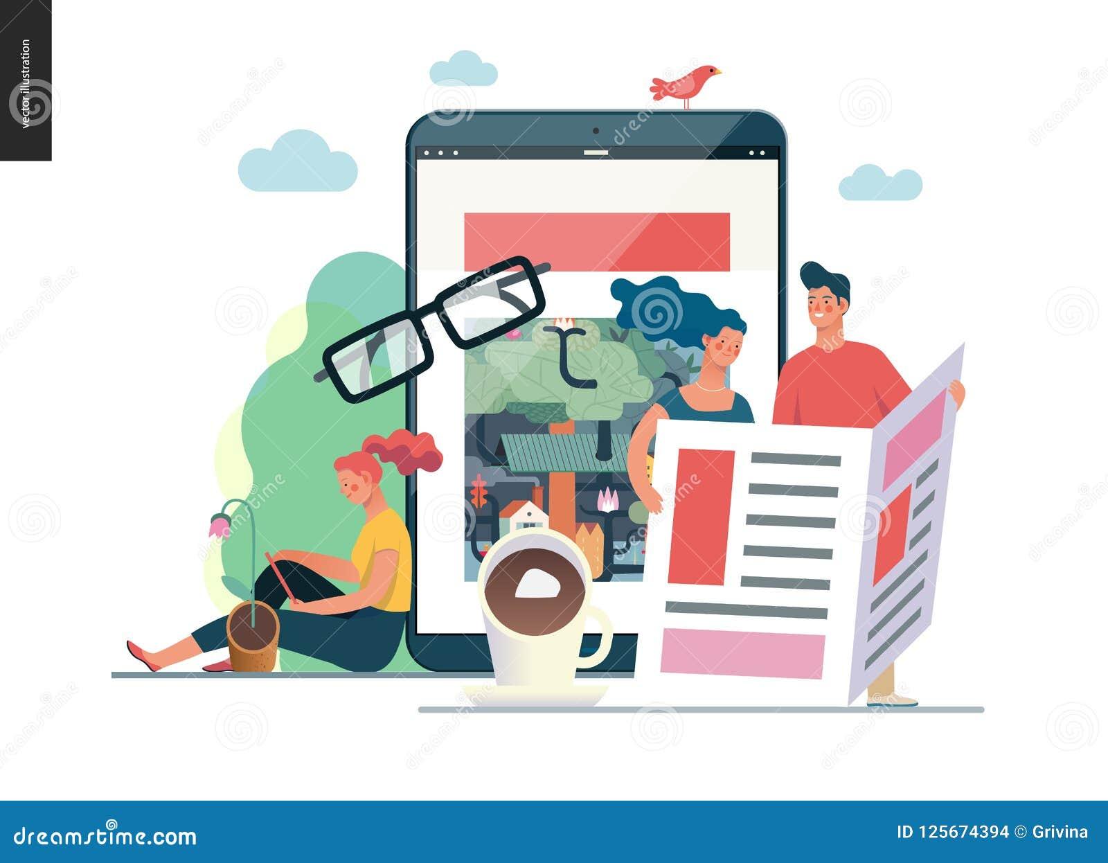 Geschäfts-Reihe - Nachrichten oder Artikel, Netzschablone