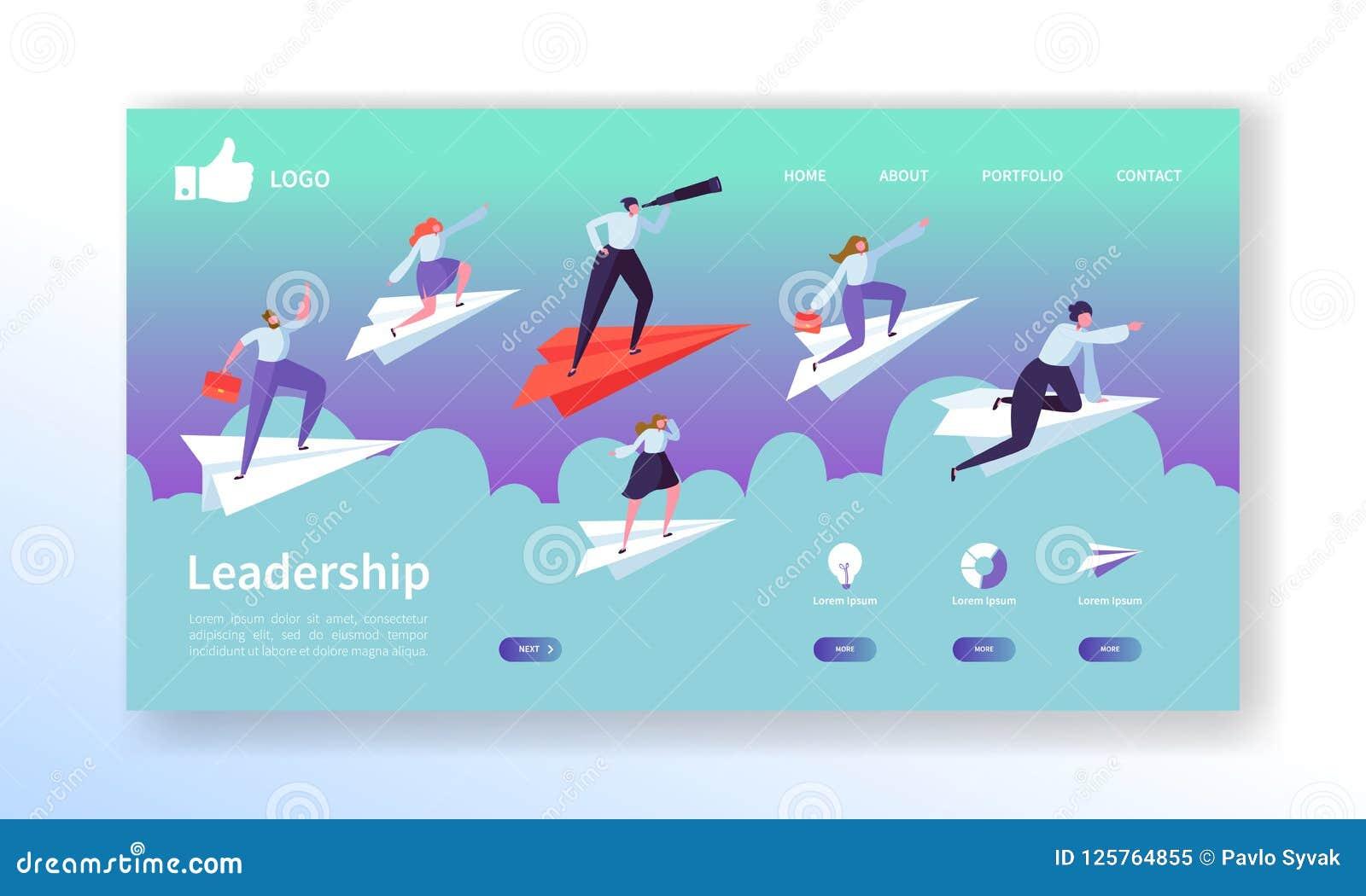 Geschäfts-Visions-Landungs-Seiten-Schablone Website-Plan mit den flachen Leute-Charakteren, die auf Papier-Flugzeug fliegen Einfa