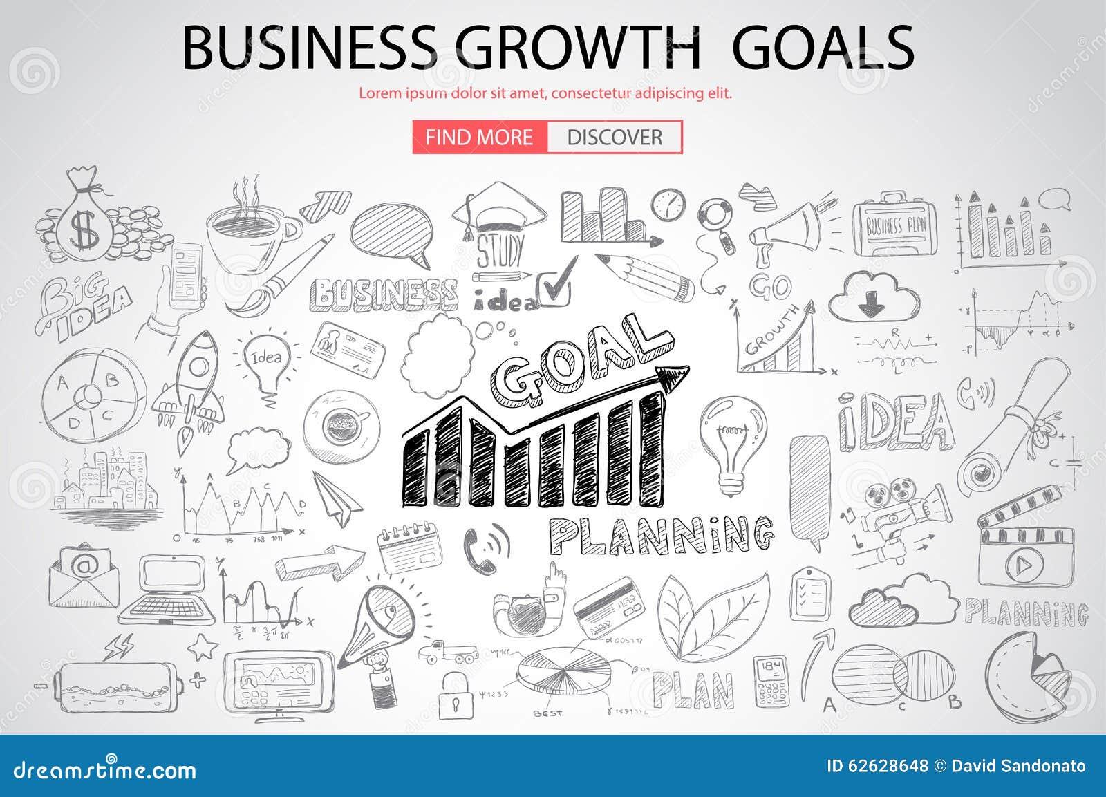 Geschäfts-Wachstums-Ziele concet mit Gekritzeldesignart
