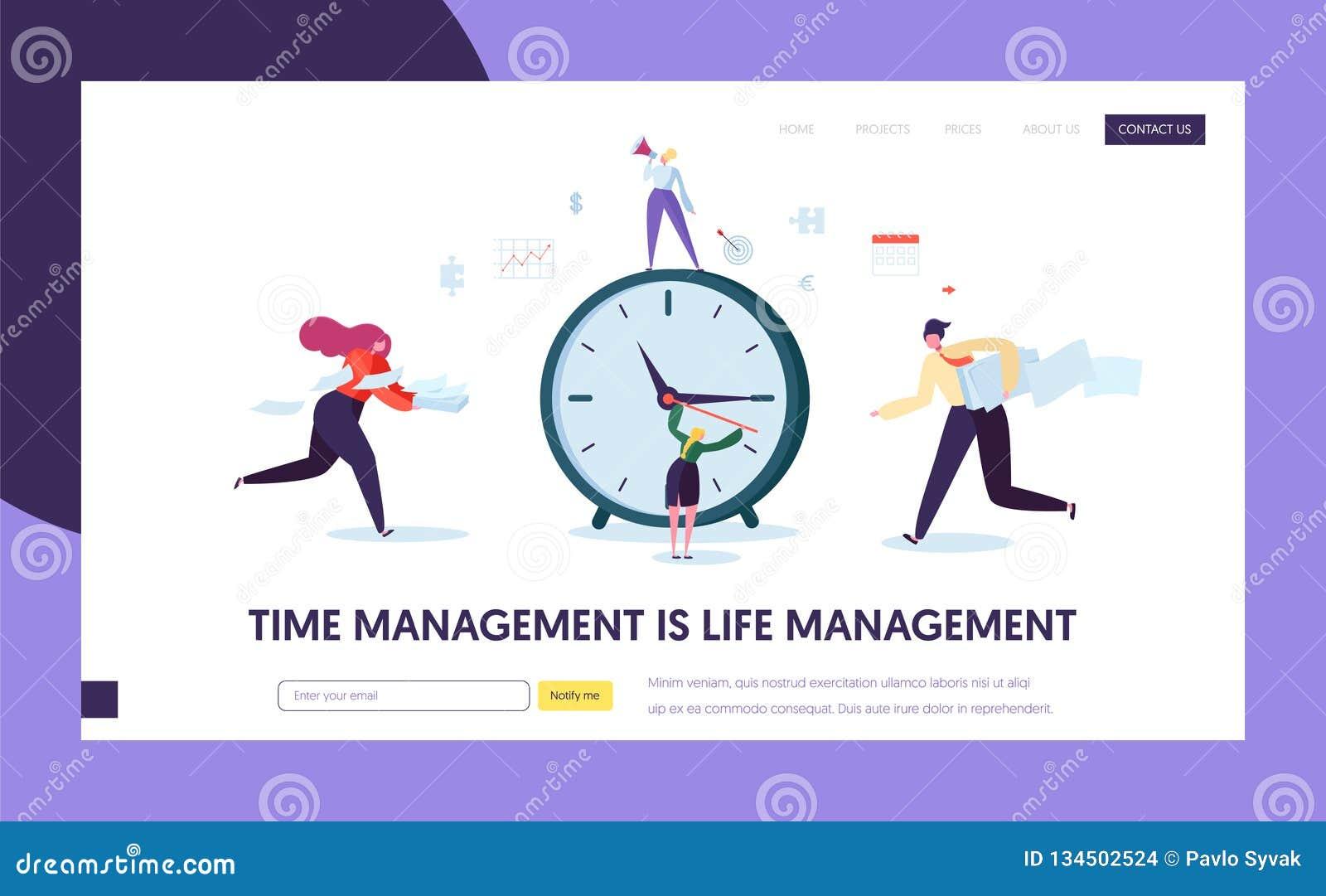 Geschäfts-Zeit-Management-Konzept-Landungs-Seite Charakter-Organisations-Zeitplan-Optimierungs-Schablone für Website