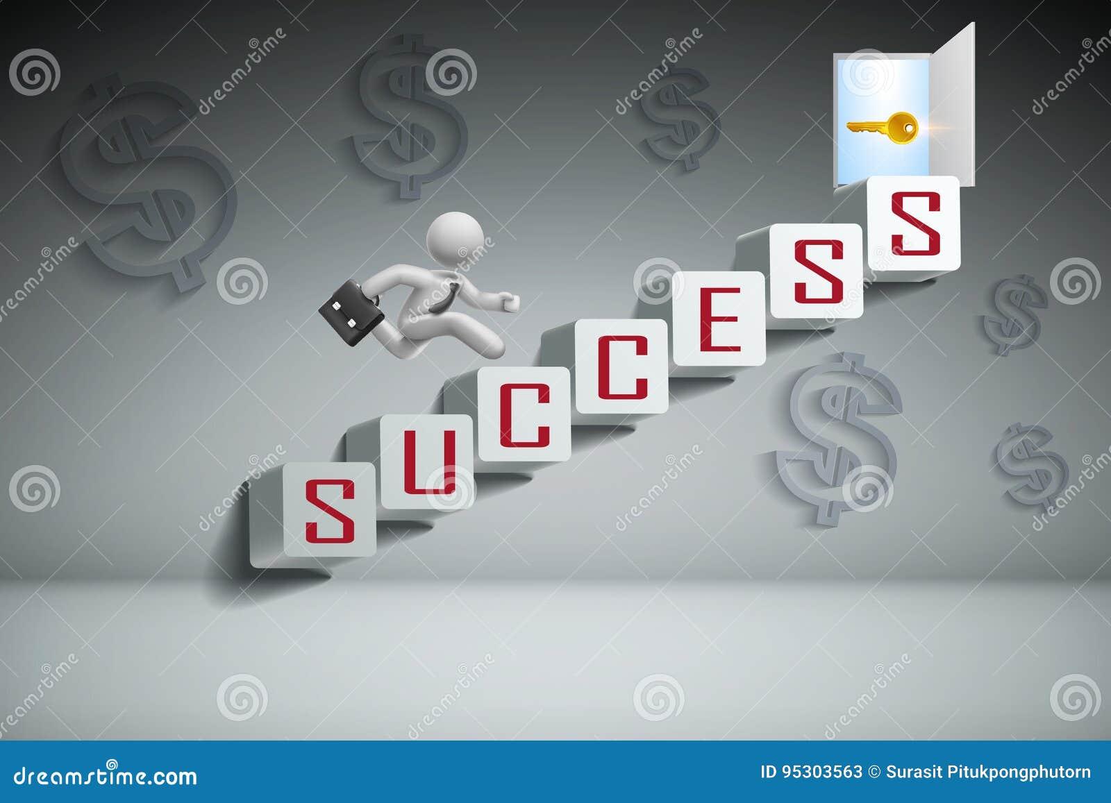 Geschäftserfolg-Konzept: Geschäftsmann, der auf weiße Treppe und Betrieb zu geöffneter Tür auf Treppe springt