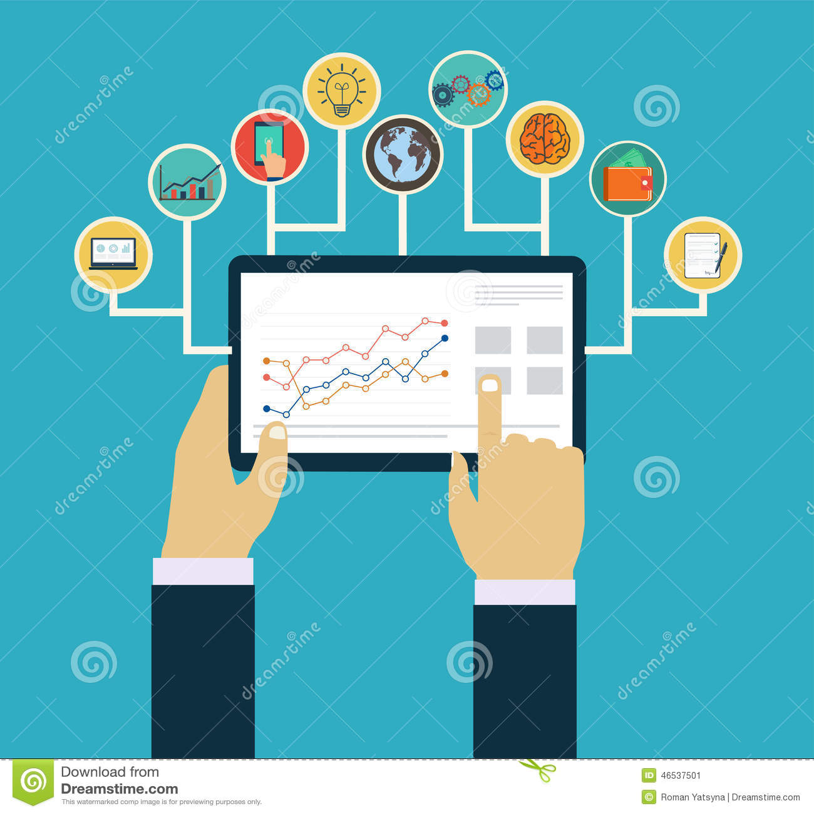 Geschäftsführungskonzept, Interaktionshände unter Verwendung der beweglichen apps