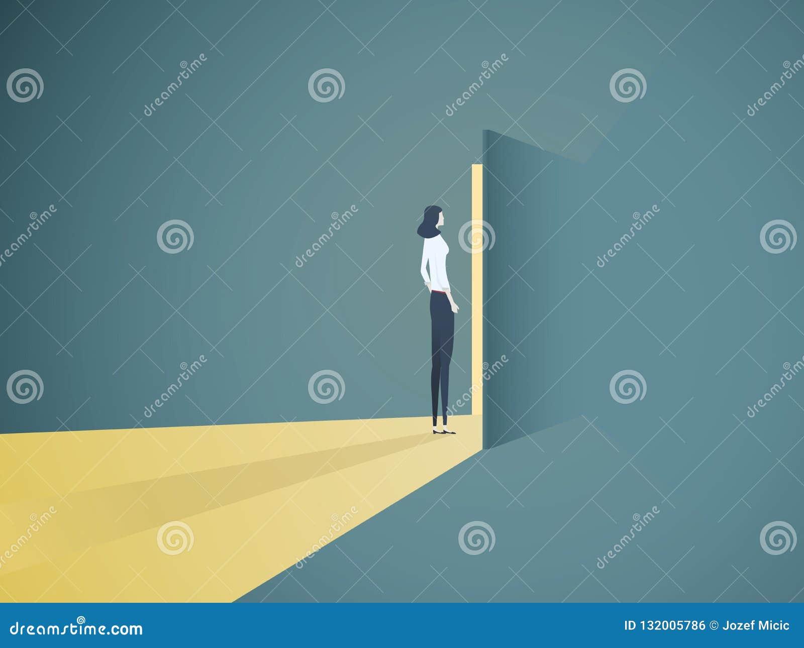 Geschäftsfrauöffnungstür-Vektorkonzept Symbol der neuen Karriere, der Gelegenheiten, der Unternehmen und der Herausforderungen