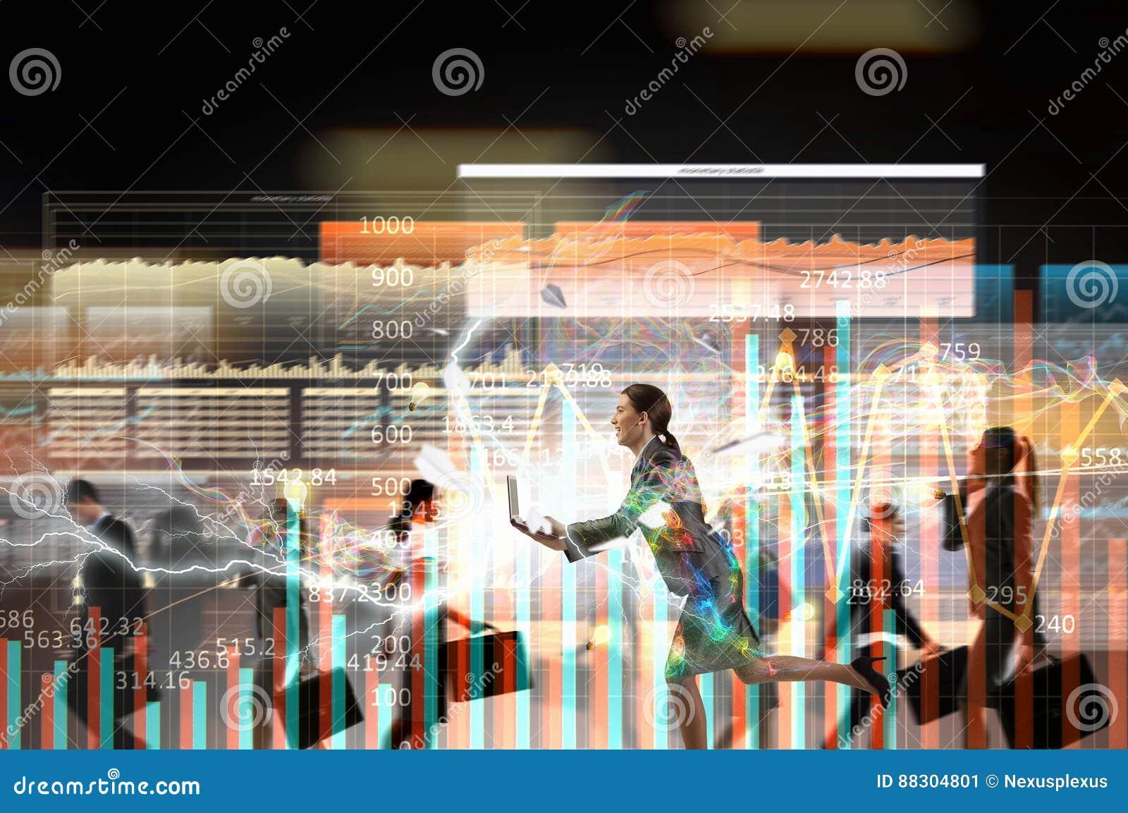 Geschäftsfrau in Bewegung Gemischte Medien