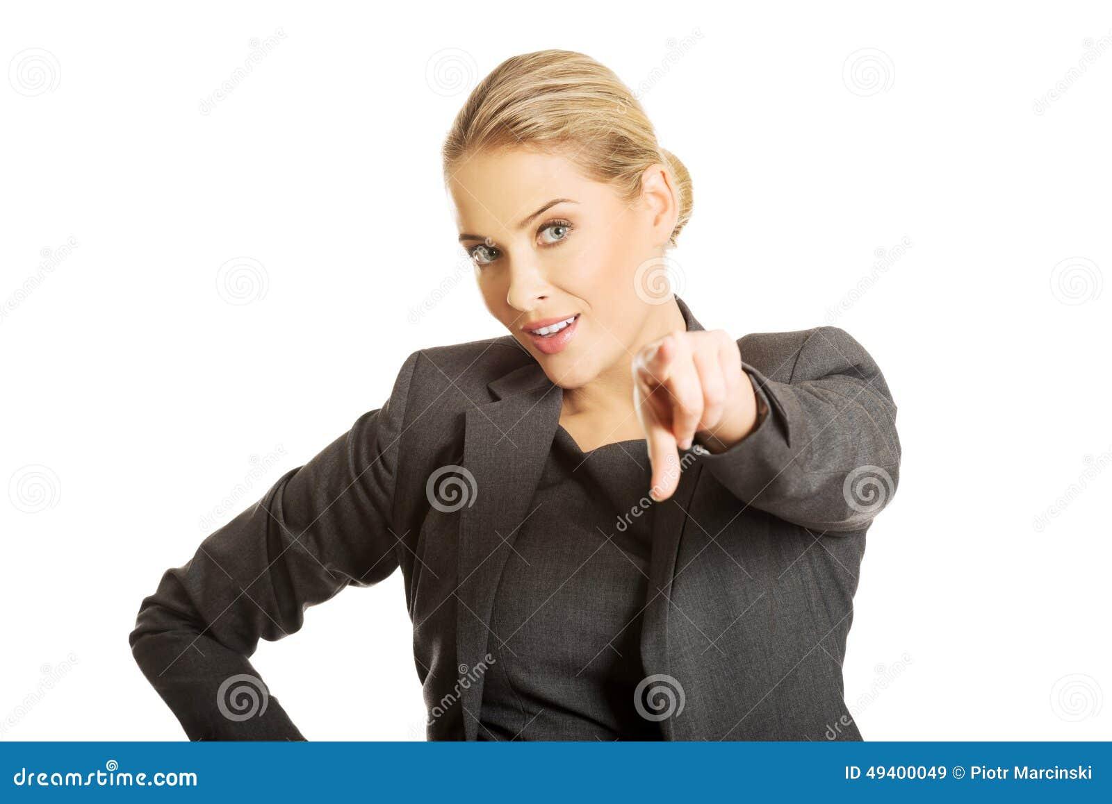 Download Geschäftsfrau, Die Auf Sie Zeigt Stockbild - Bild von beiläufig, lachen: 49400049