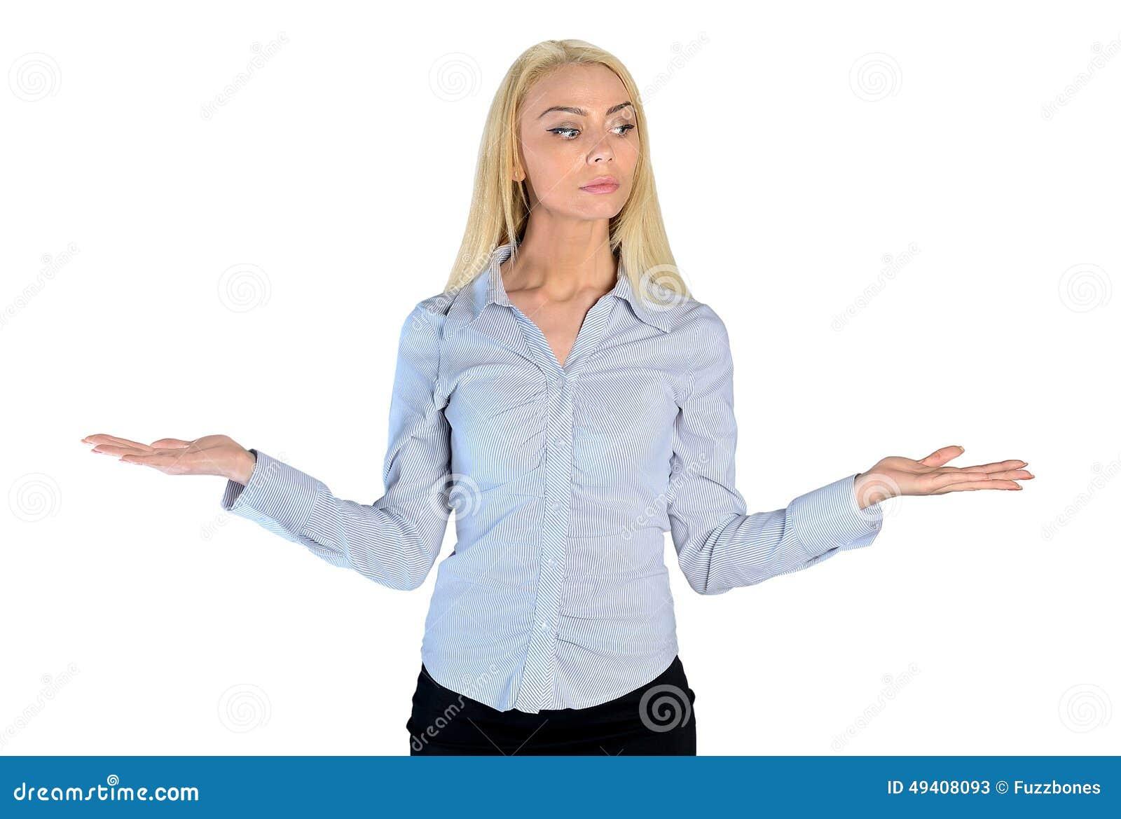 Download Geschäftsfrau, Die Etwas Darstellt Stockbild - Bild von portrait, geschäft: 49408093