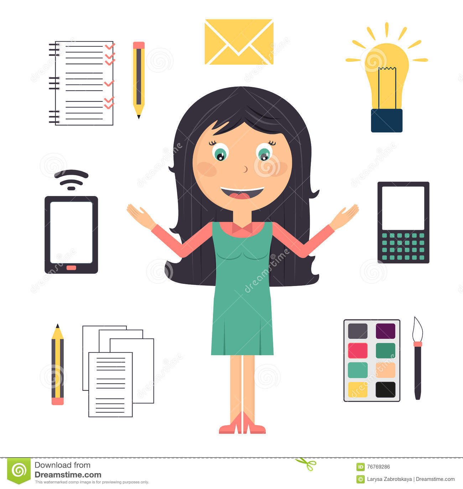 Geschäftsfrau, die viele Aufgaben tut