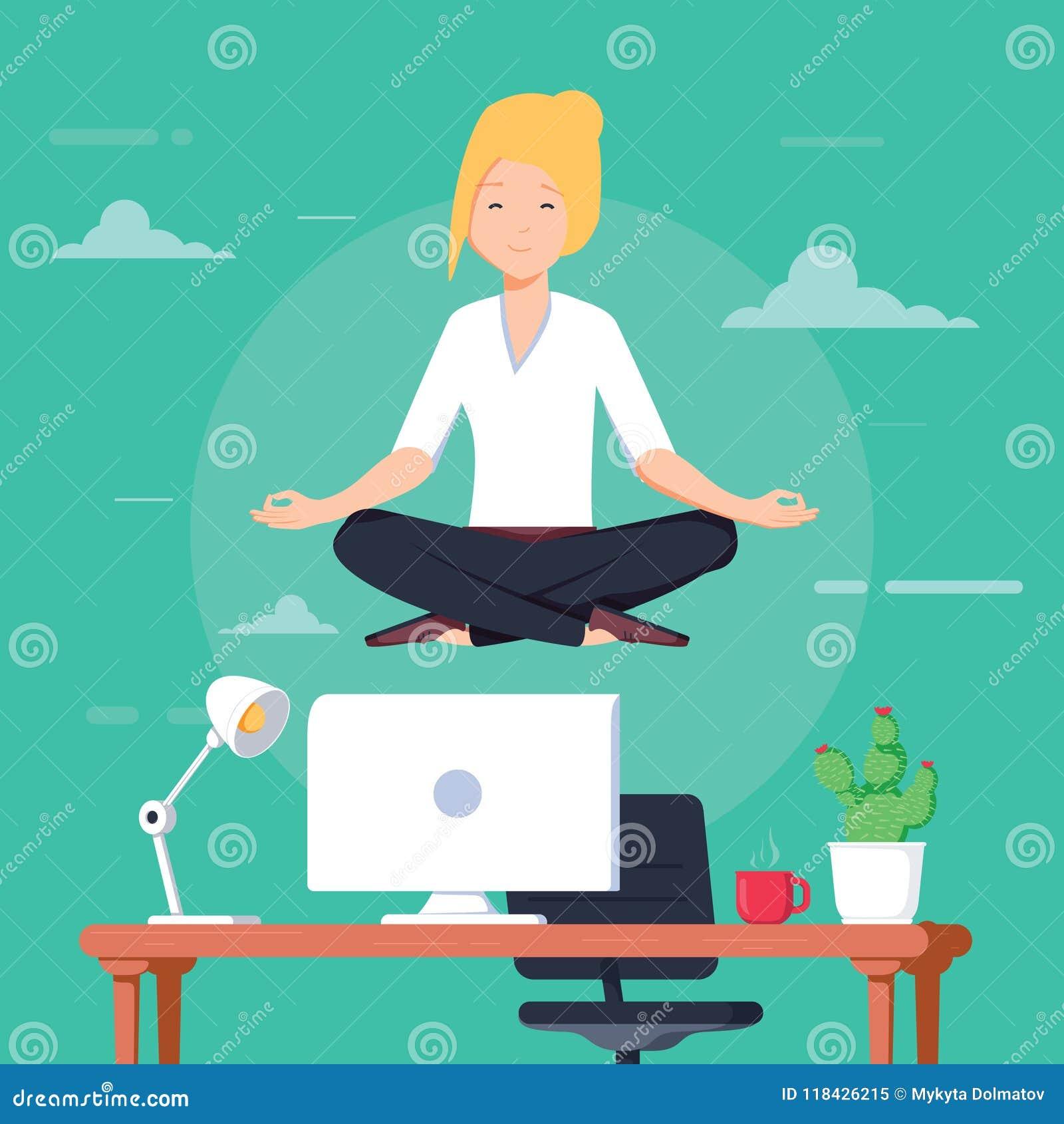Geschäftsfrau, die Yoga tut, um sich das stressige Gefühl von der harten Arbeit im Büro über Schreibtisch mit Büro zu beruhigen