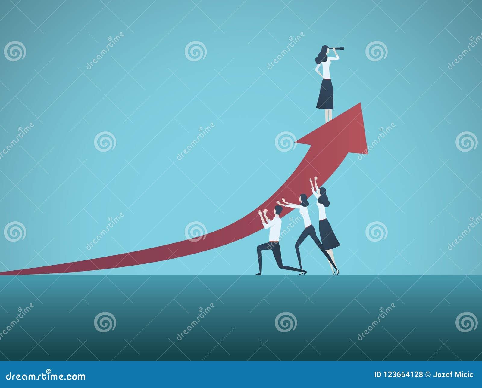 Geschäftsfrau-Führervektorkonzept Symbol von Zeiten up Bewegung, Frau im Geschäft, Emanzipation, Erfolg, Führung