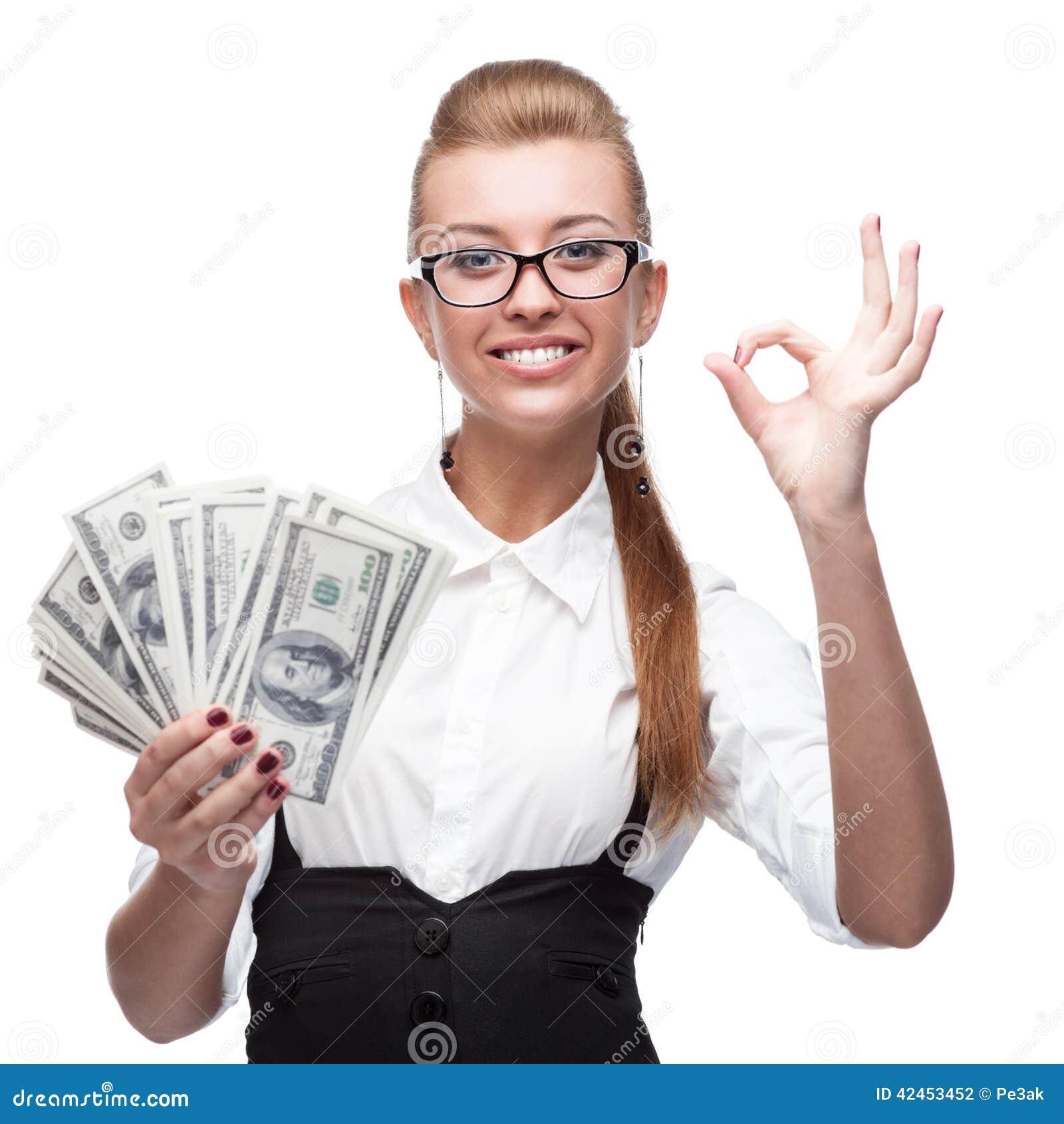 Geschäftsfrau Holding Money