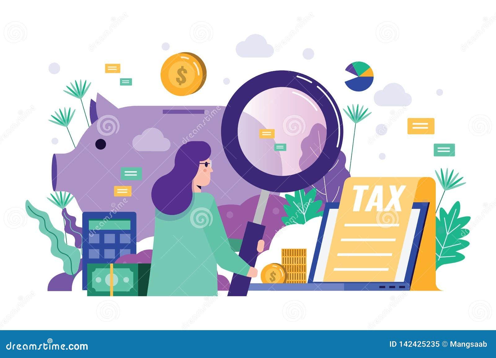 Geschäftsfrau-Holdinglupe, zum von Finanzdaten zu revidieren