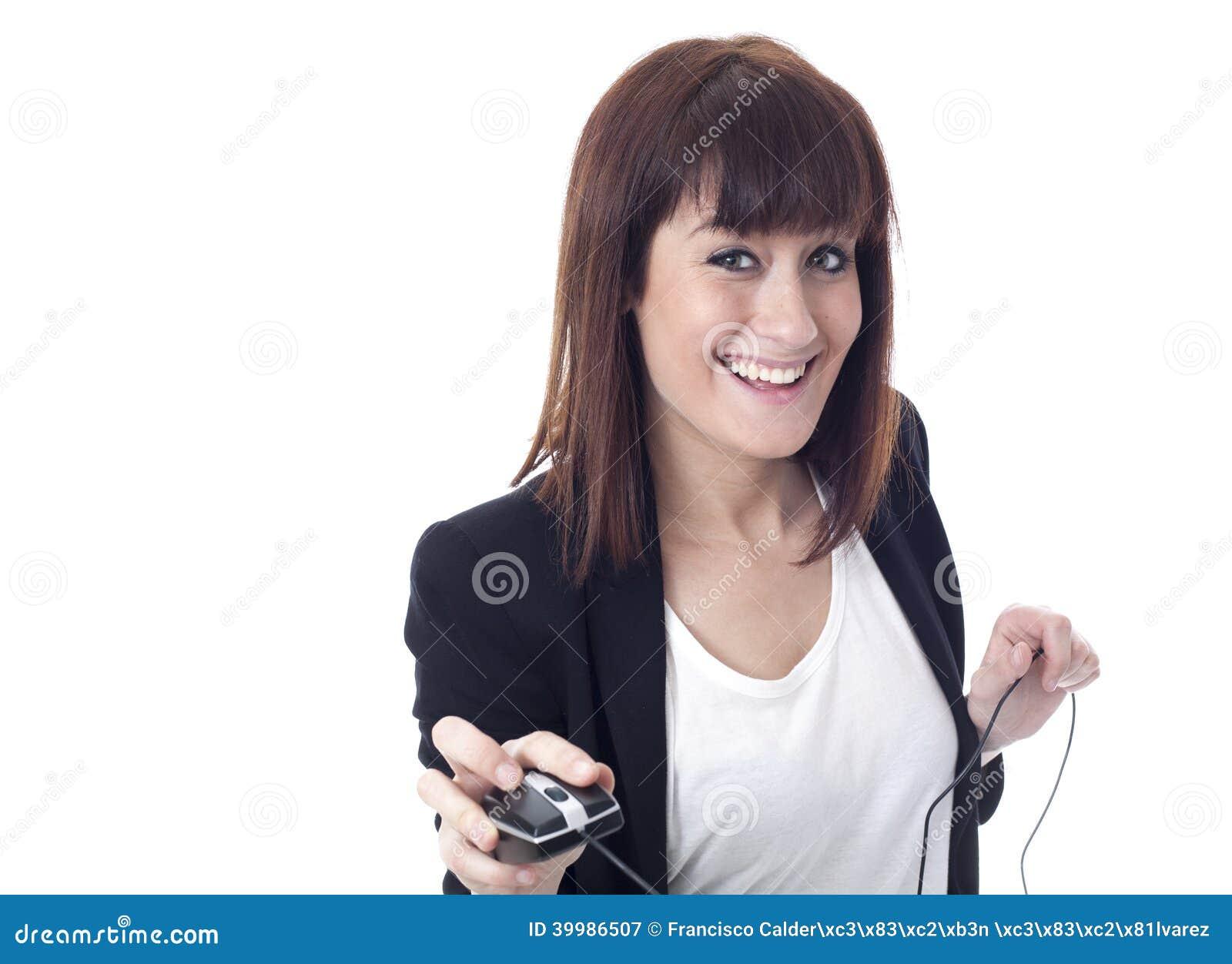 Geschäftsfrau mit Computer Maus und coyspace