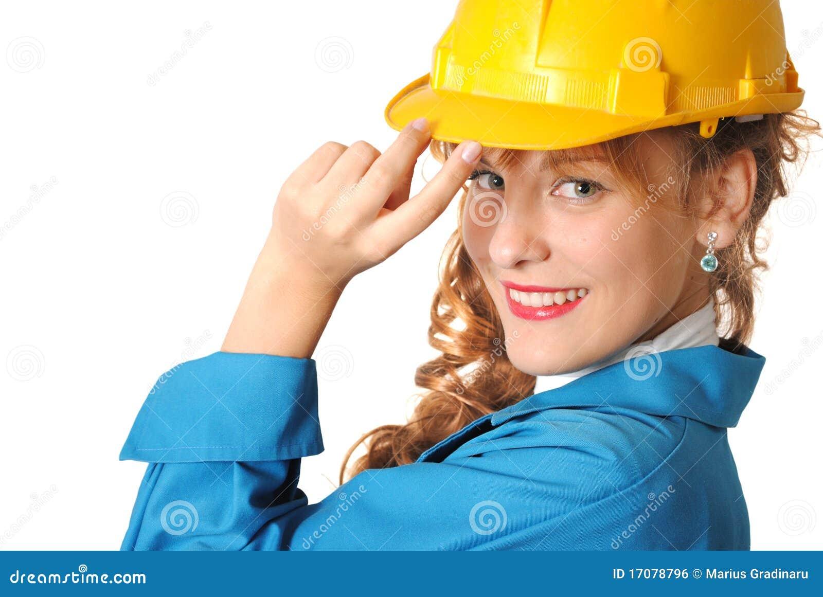 Geschäftsfrau mit Sicherheitshut
