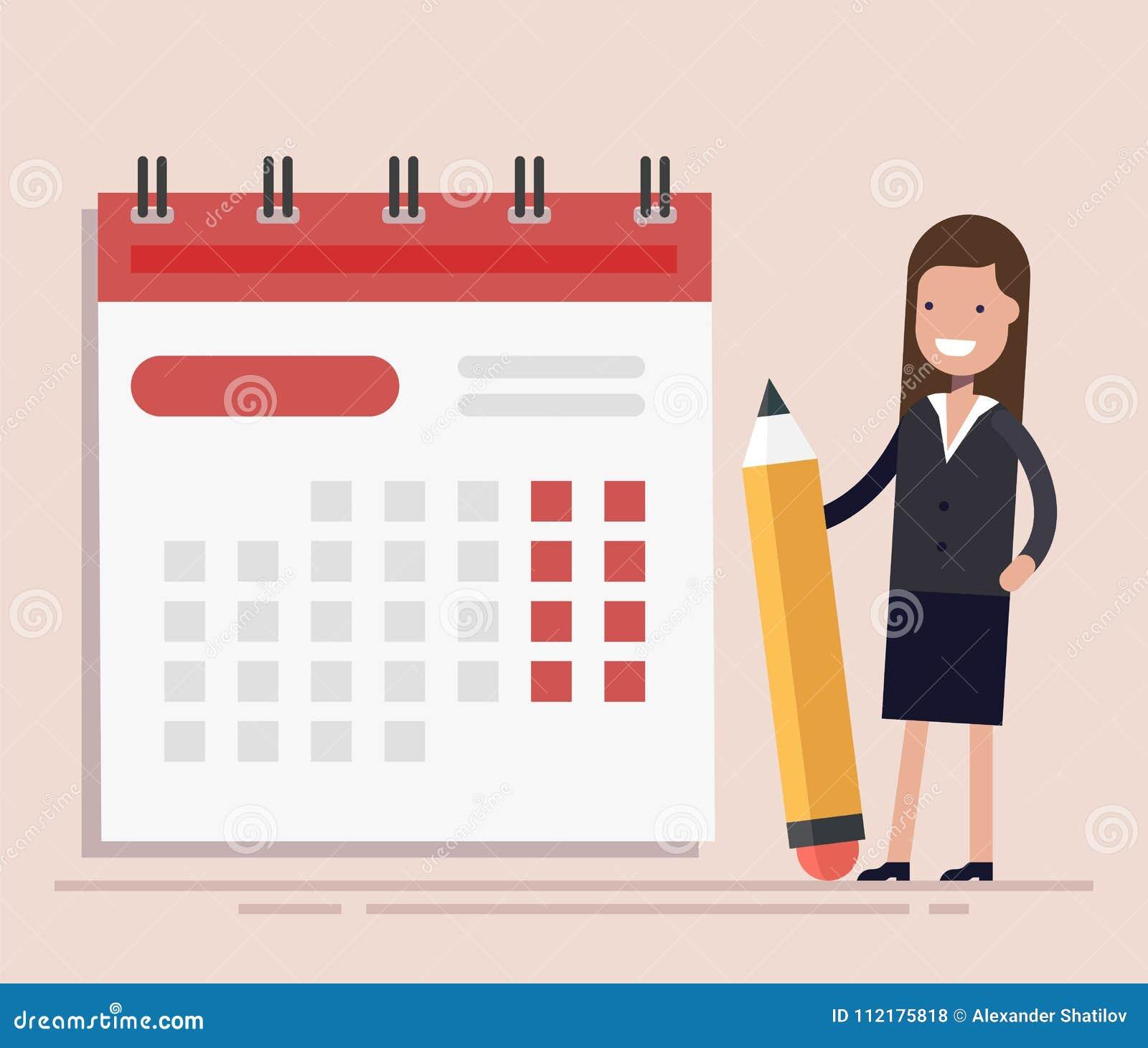 Geschäftsfrau mit Stift und Kalender Planung und Schedulings-Konzept Geschäftsoperationen Flaches Vektor illustraion
